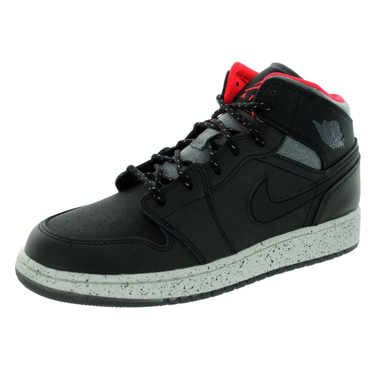 c589dbef365 Nike Jordan Kid s Air Jordan 1 Mid Holiday Bg Black Dark Grey  Basketball  Shoe