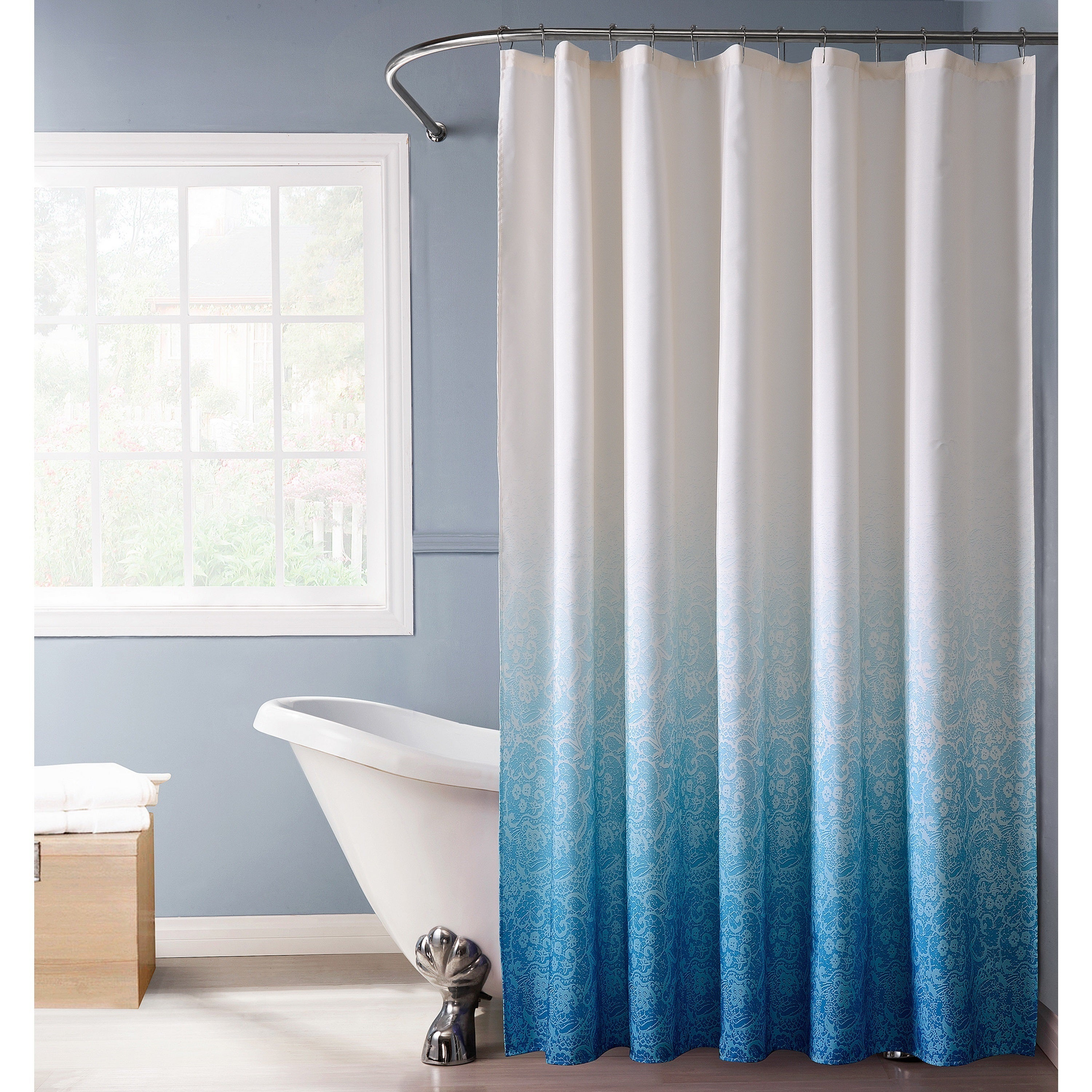 Shop Bath Bliss Polyester Lace Printed Ombre Shower Curtain in Blue ...