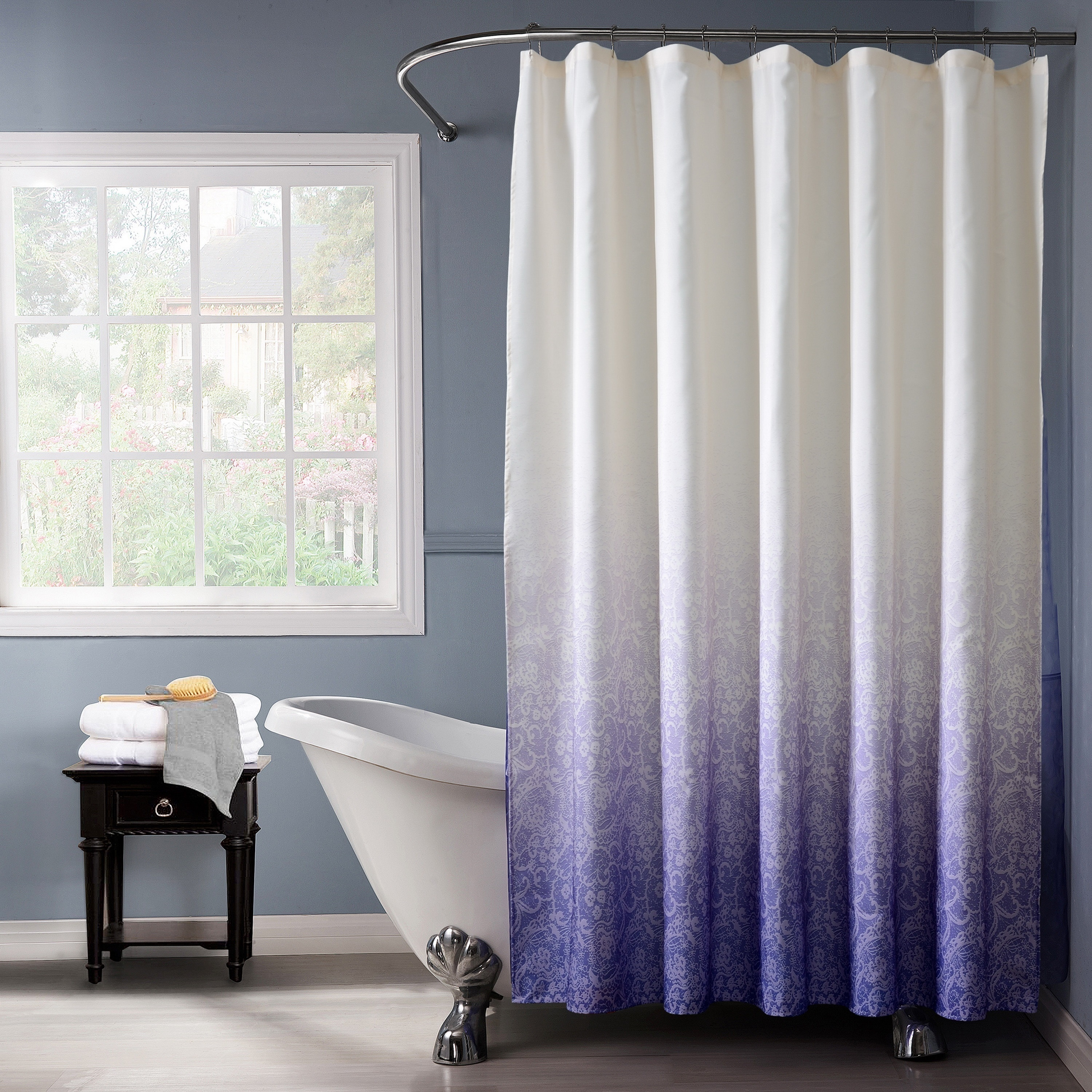 Wonderful Bath Bliss Polyester Lace Printed Ombre Shower Curtain In Purple   Free  Shipping On Orders Over $45   Overstock   19157066