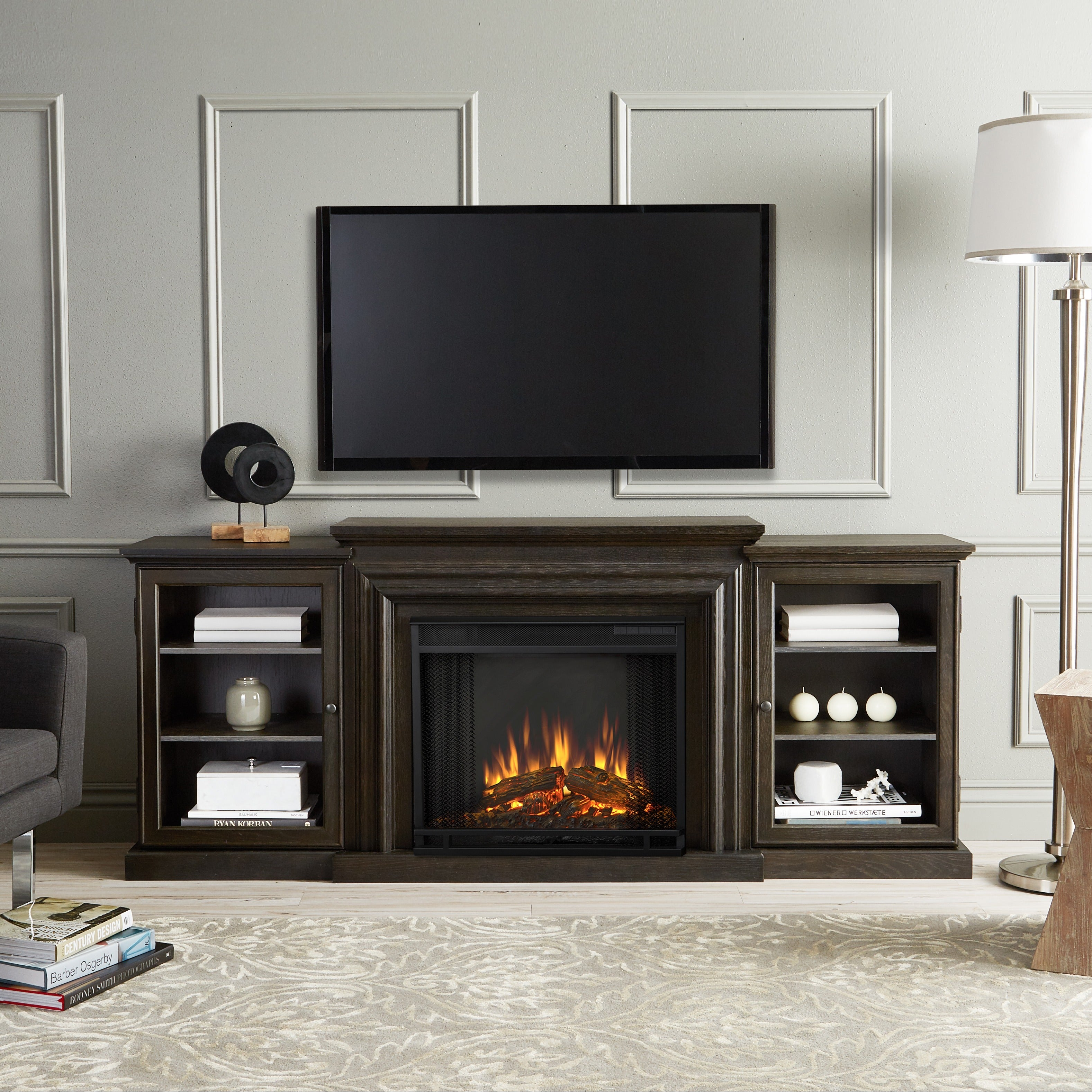 to for finishes stand media multiple center com electric with up tvs ip wood walmart fireplace tv