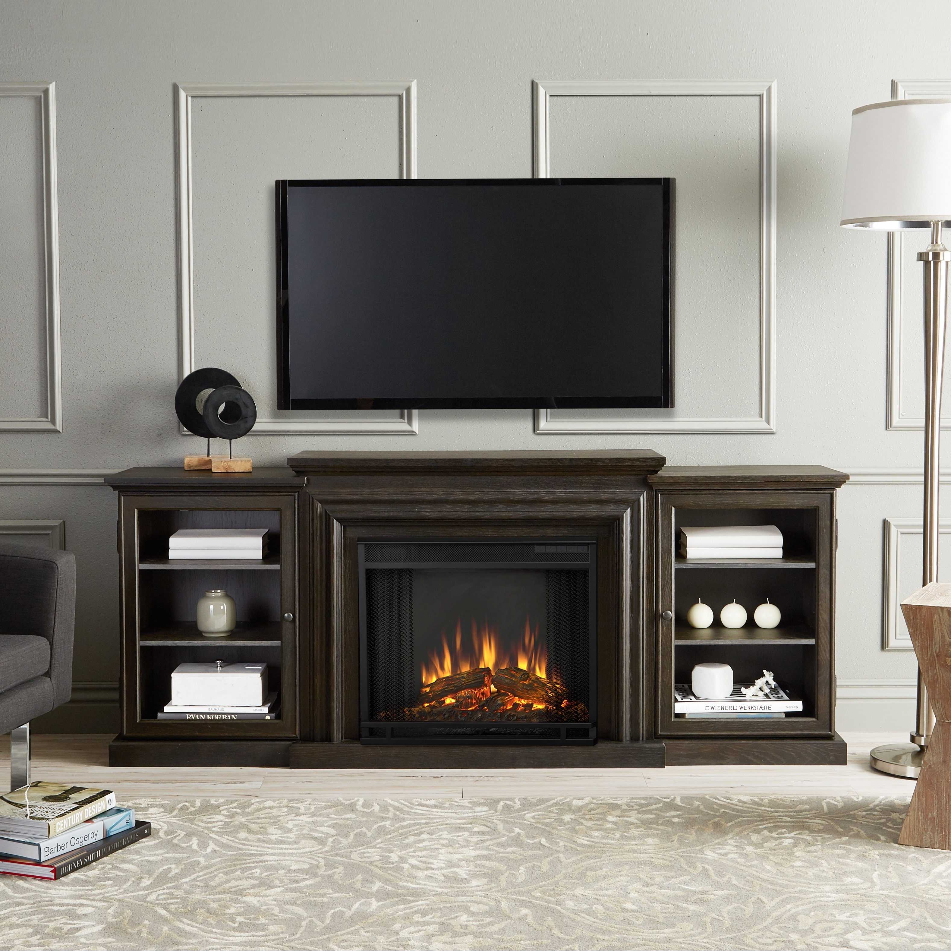 spectacular tv center flame on console real fireplace grand entertainment tracey aifaresidency com media of with electric