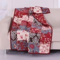 Greenland Home Fashions  Nicole Floral Style 100-Percent Cotton Patchwork Throw