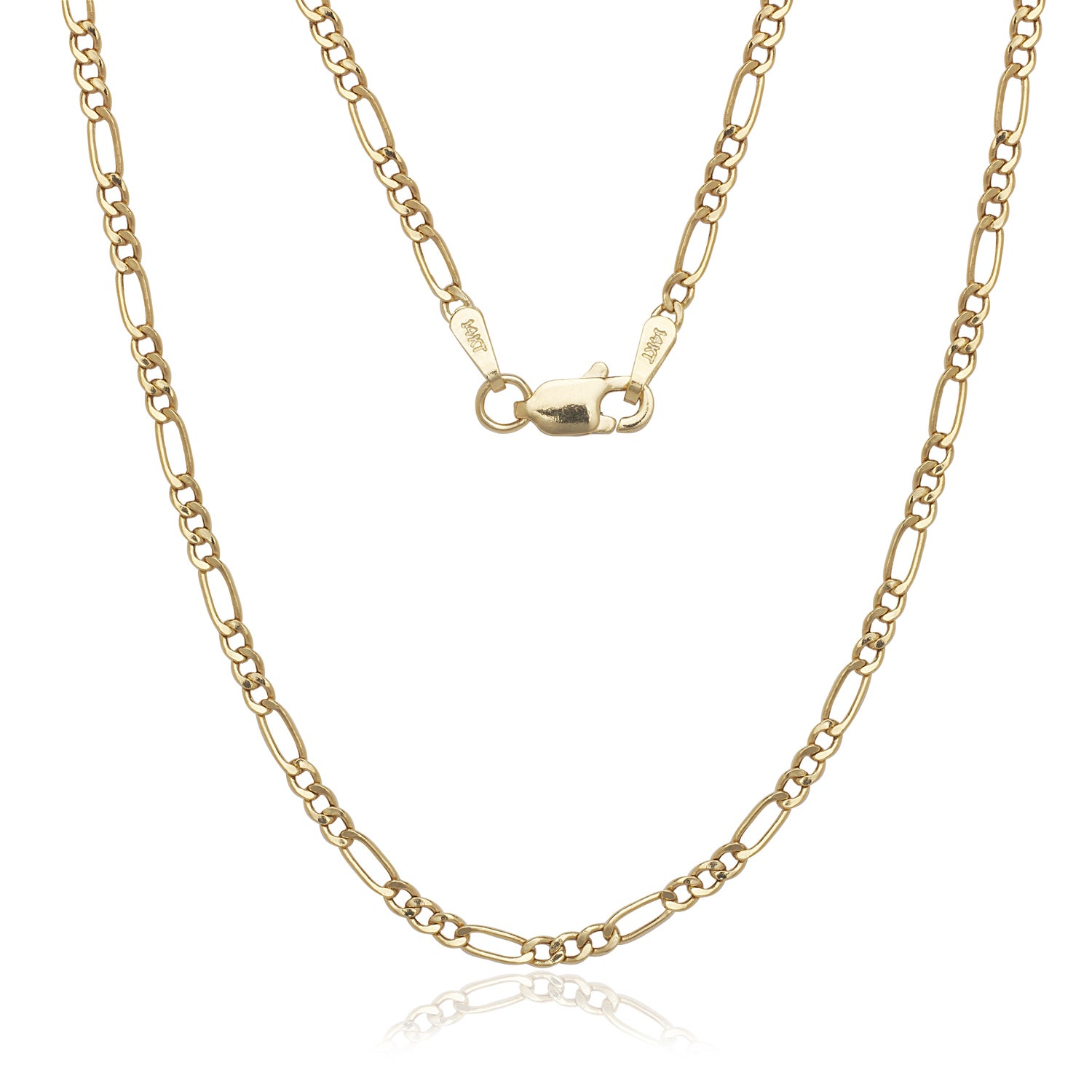 69d118f79aac2b Shop 14K Solid Gold 2mm Figaro Chain Necklace - Free Shipping Today ...