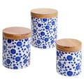 Certified International Chelsea Indigo Poppy 3-piece Canister Set, Bamboo Lids