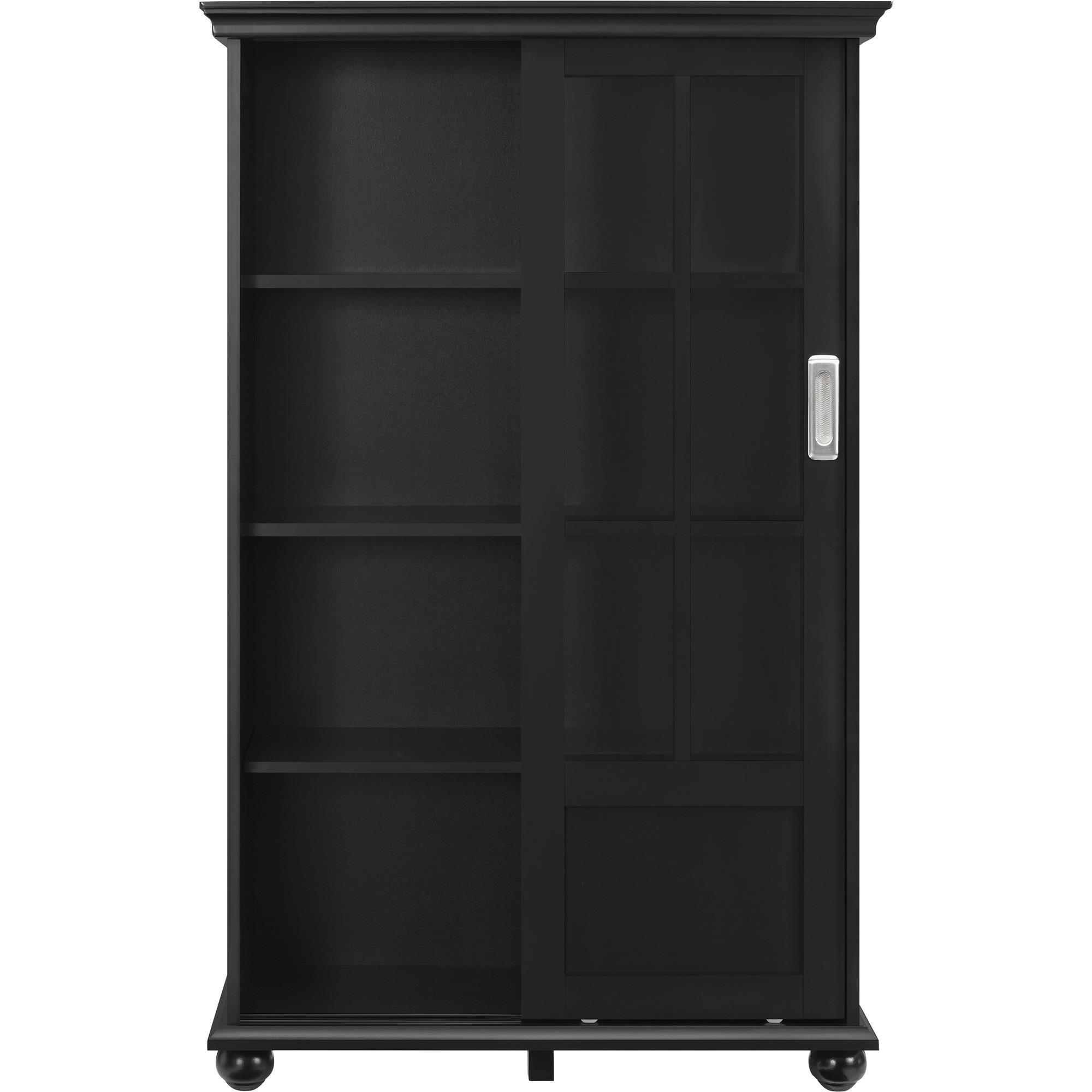 Shop ameriwood home aaron lane black bookcase with sliding glass doors free shipping today overstock com 12331760