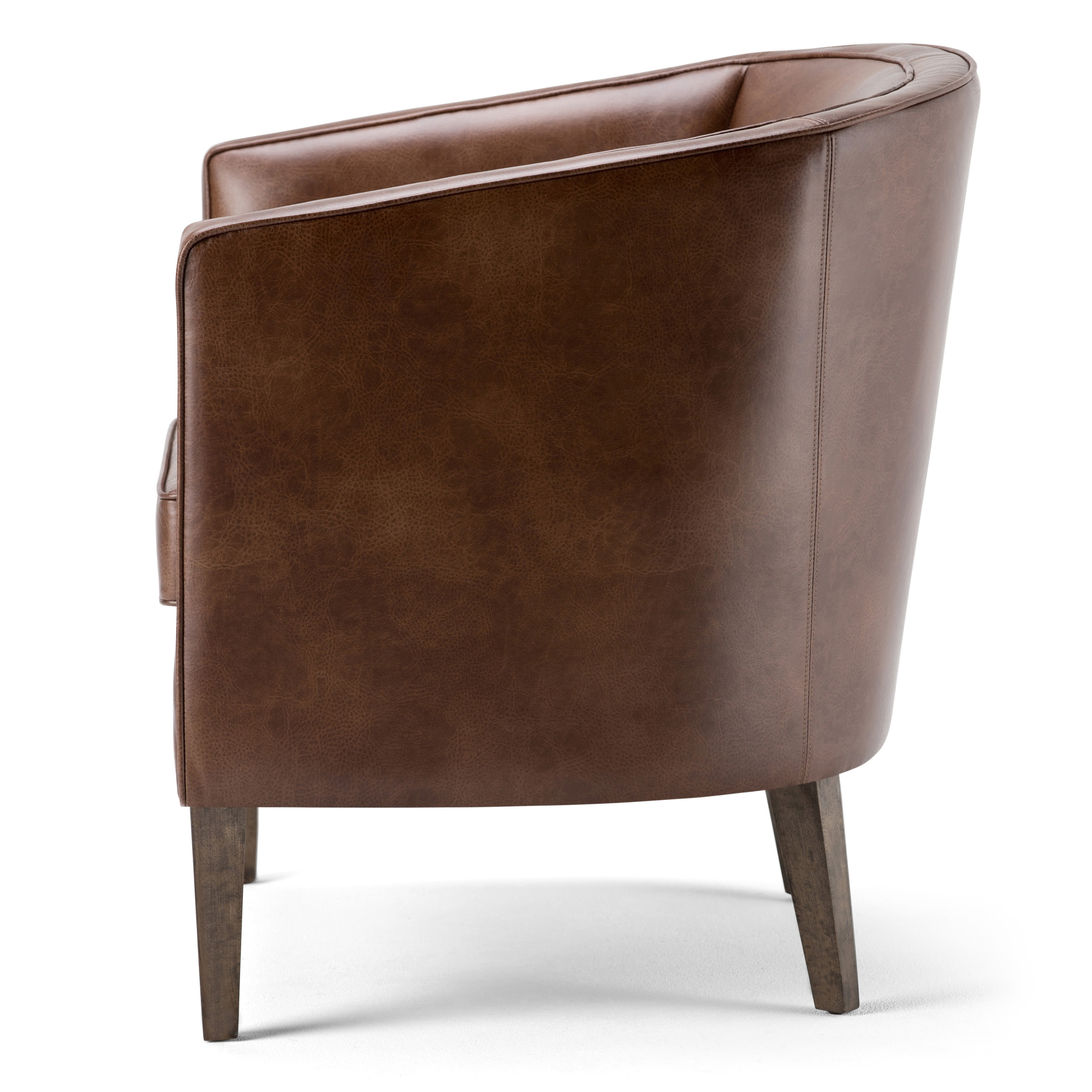 Exceptionnel WYNDENHALL Walker Brown Bonded Leather Tub Chair   Free Shipping Today    Overstock.com   19163339