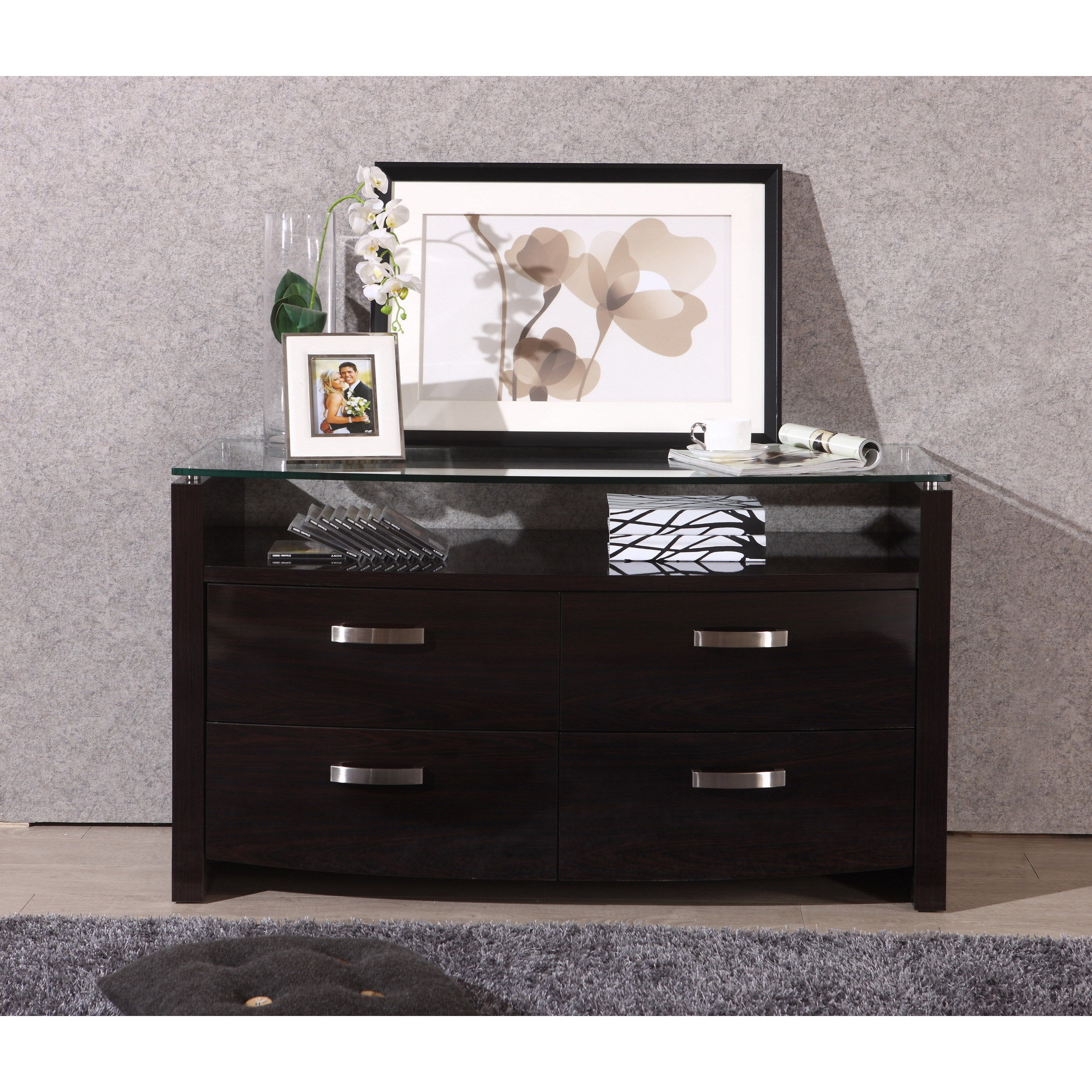 Shop Domino Espresso Glass Top Tv Stand Free Shipping Today