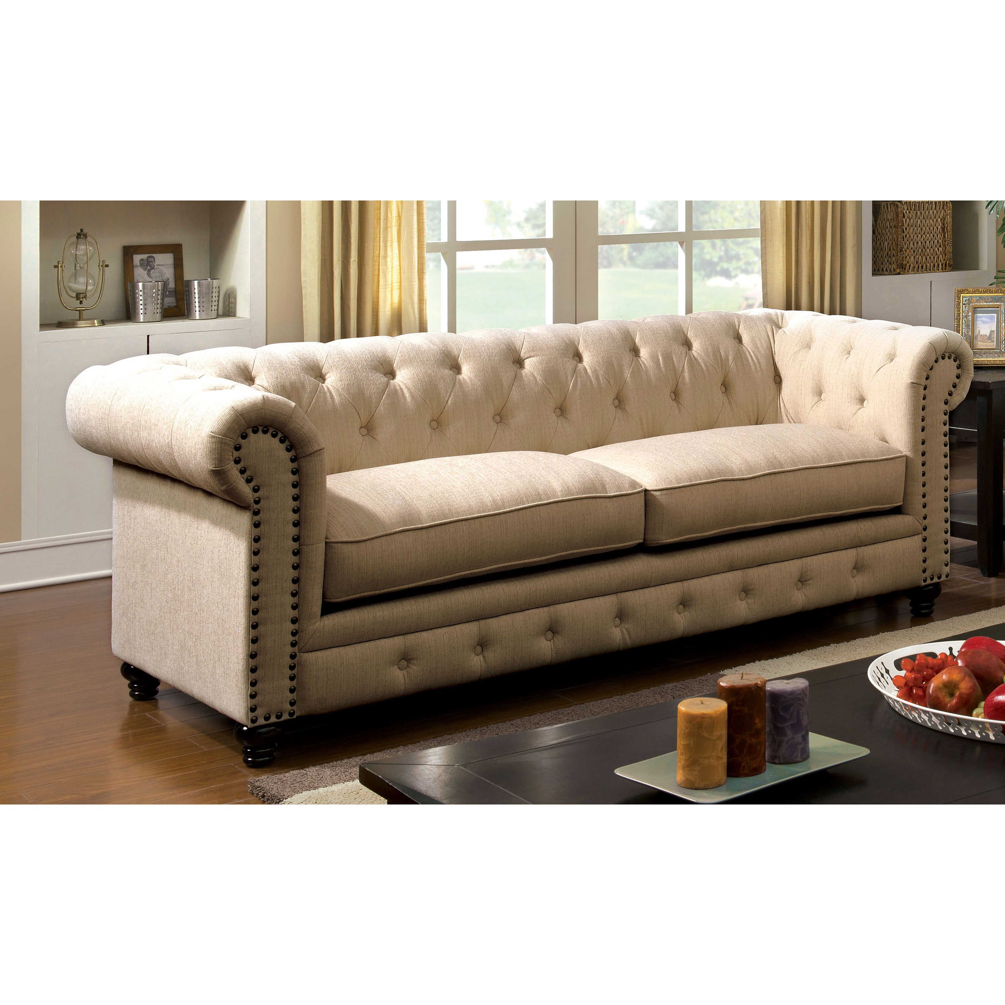 Furniture Of America Staffers Traditional Deep Tufted Tuxedo Style Sofa Free Shipping Today 19163418