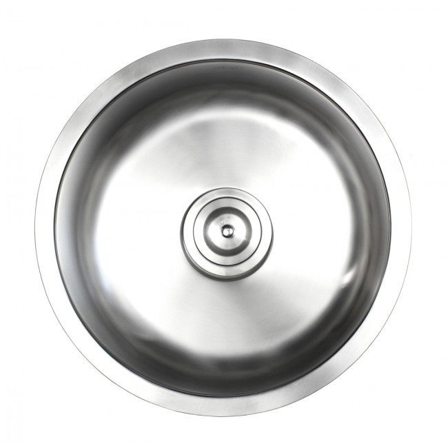 Shop Ariel Pearl Satin 17 Inch Premium 16 Gauge Round Stainless Steel  Undermount Single Bowl Island/Bar/Kitchen Sink   Free Shipping Today    Overstock.com   ...