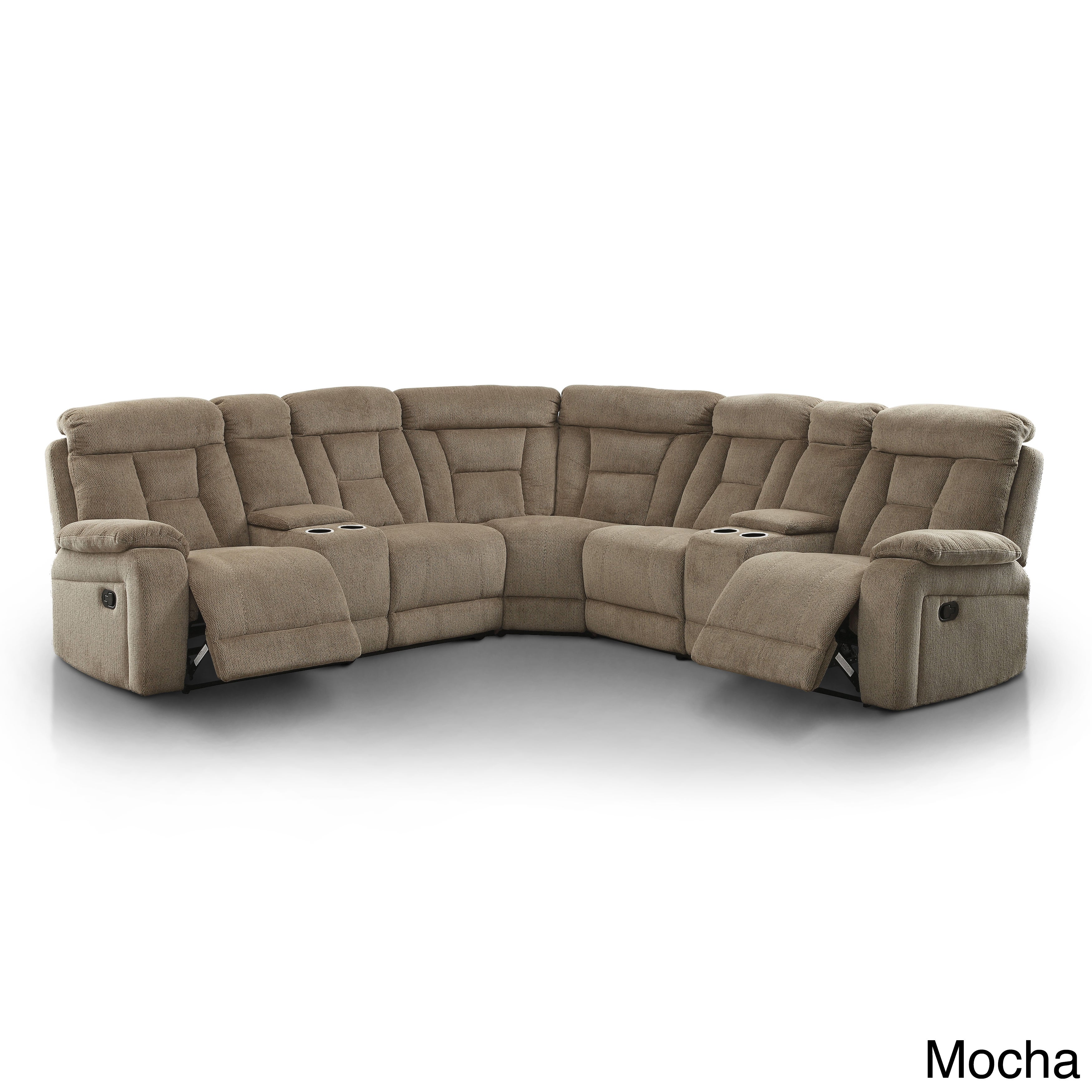Shop Furniture Of America Bristone Chenille Upholstered L Shaped Sectional    On Sale   Free Shipping Today   Overstock.com   12332083