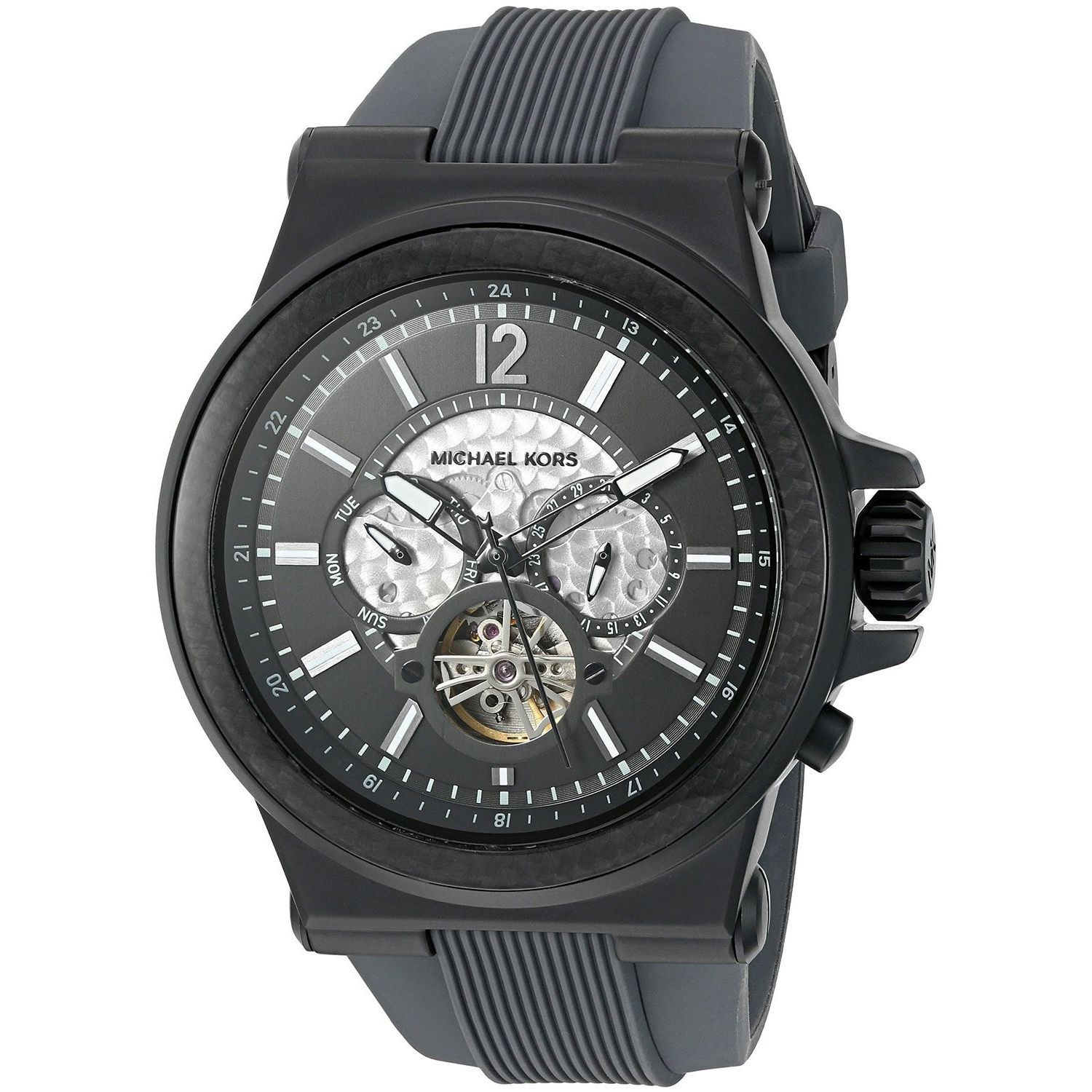 561ad1656c56 Shop Michael Kors Men s MK9026  Dylan  Multi-Function Black Silicone Watch  - On Sale - Free Shipping Today - Overstock - 12332195
