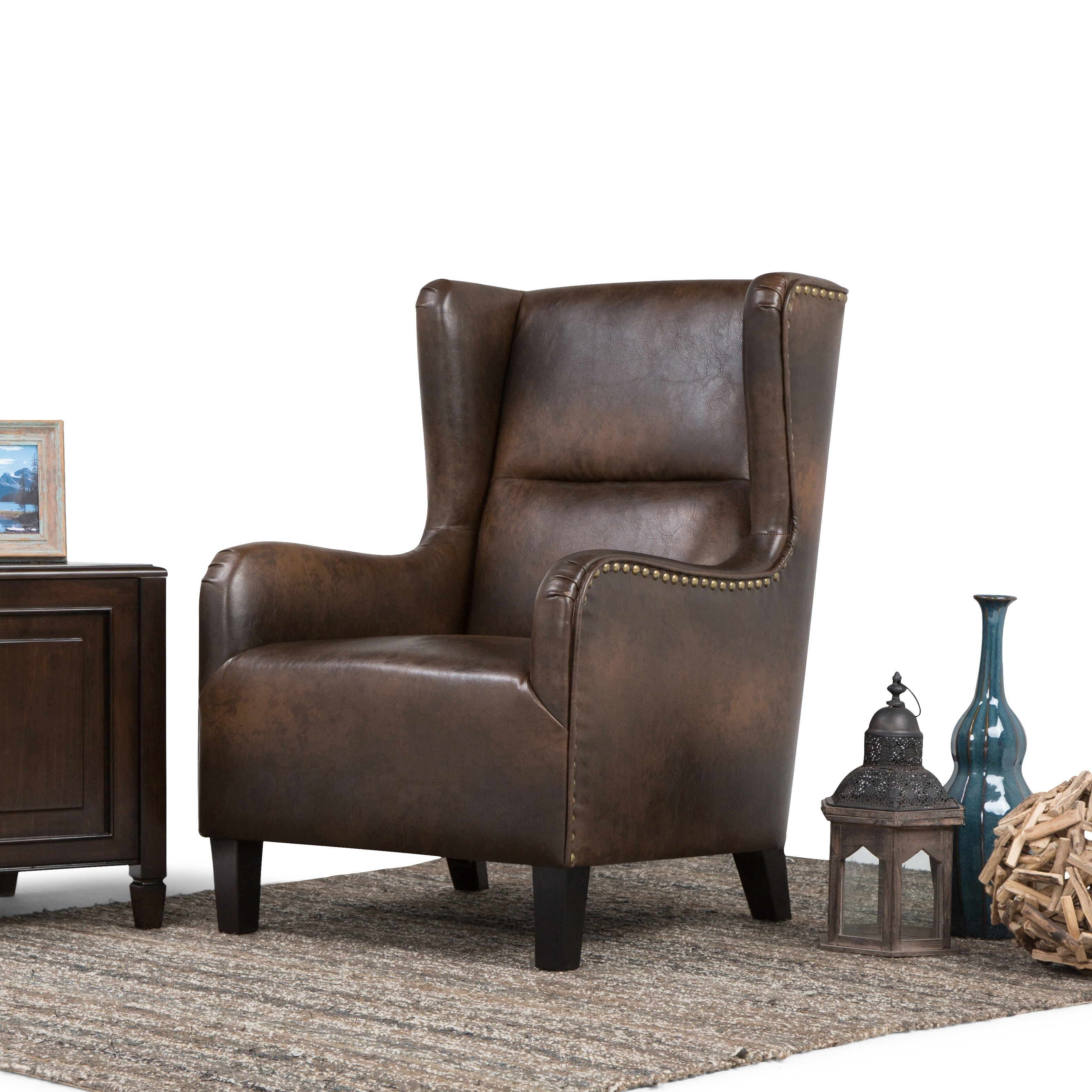 Wyndenhall Manford Distressed Brown Bonded Leather Wingback Chair On Free Shipping Today 12334677