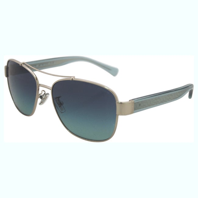 ee6d2dba8a ... switzerland shop coach hc7064 l151 92664s silver womens metal aviator  sunglasses free shipping today overstock 12343734 ...