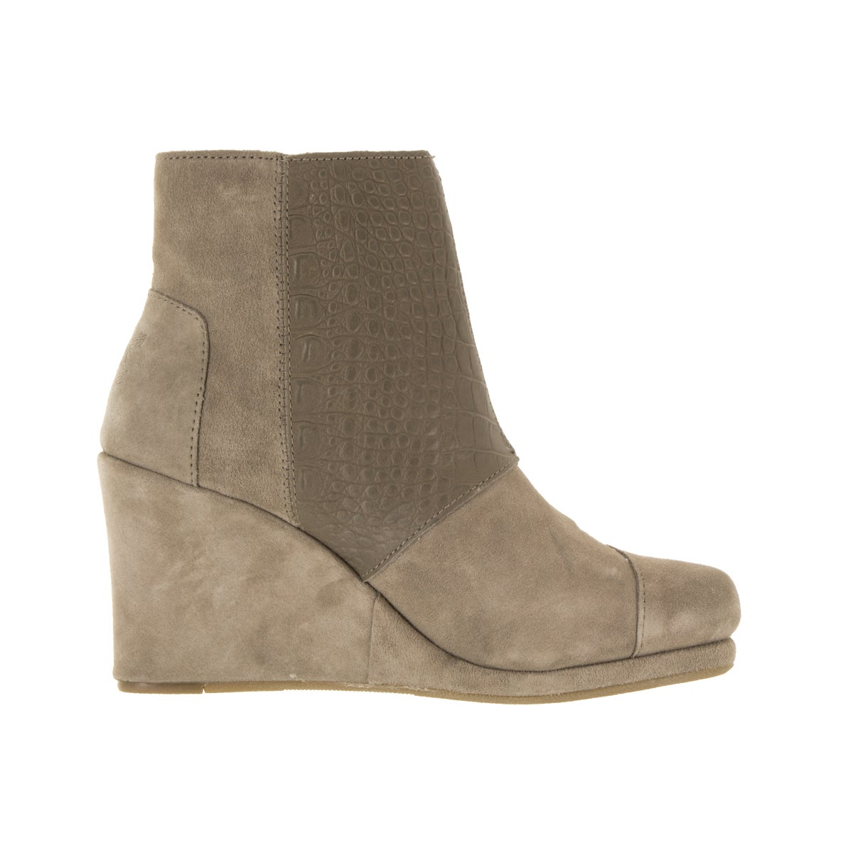 1a65a68f78c Shop Toms Women s Desert Wedge High Taupe Suede Croc Boot - Free Shipping  Today - Overstock - 12344761