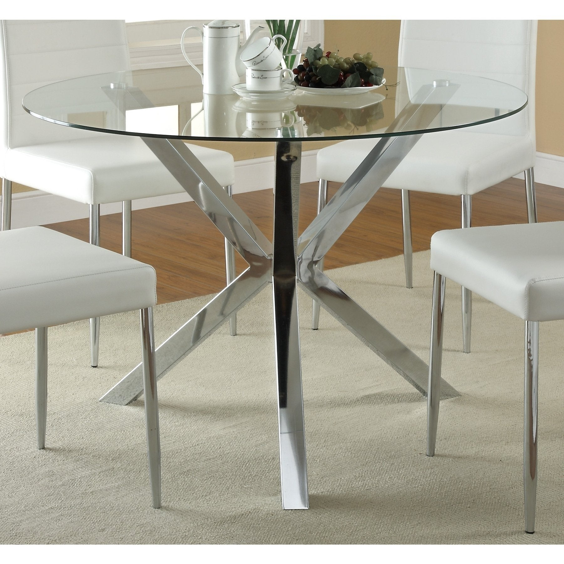 Shop Coaster Company Chrome Glass Top Dining Table Free Shipping - Glass-topped-dining-room-tables