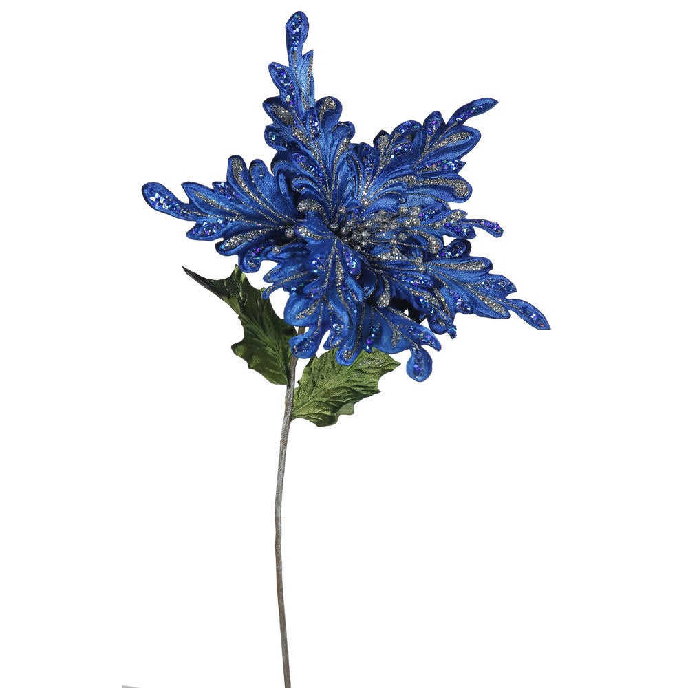 Vickerman 15 Inch Blue Poinsettia Pack Of 3 Free Shipping Today
