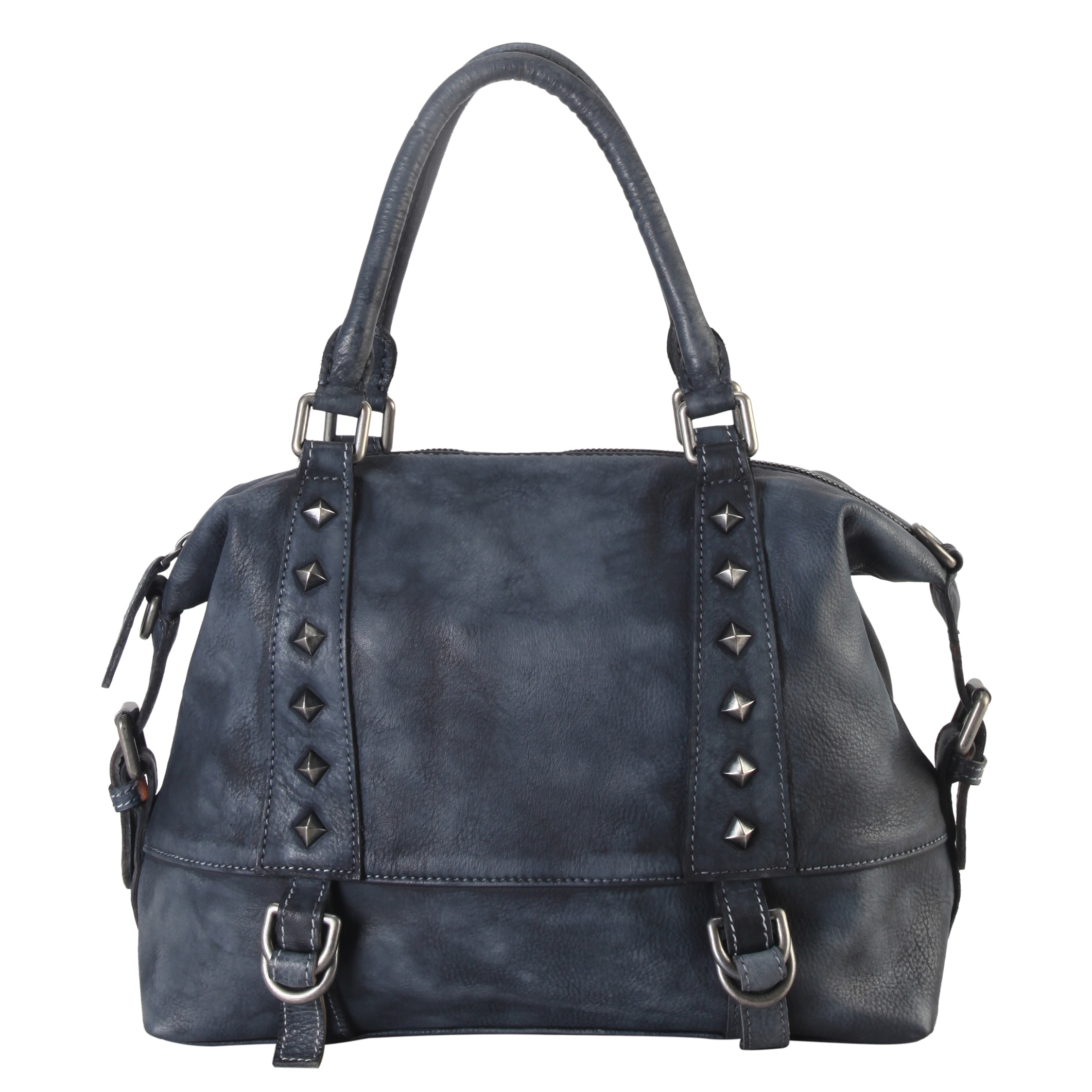 01d3e894a418 Diophy Genuine Leather Medium Tote Accented with Studded & Buckle Decor  with Removable Strap 150335