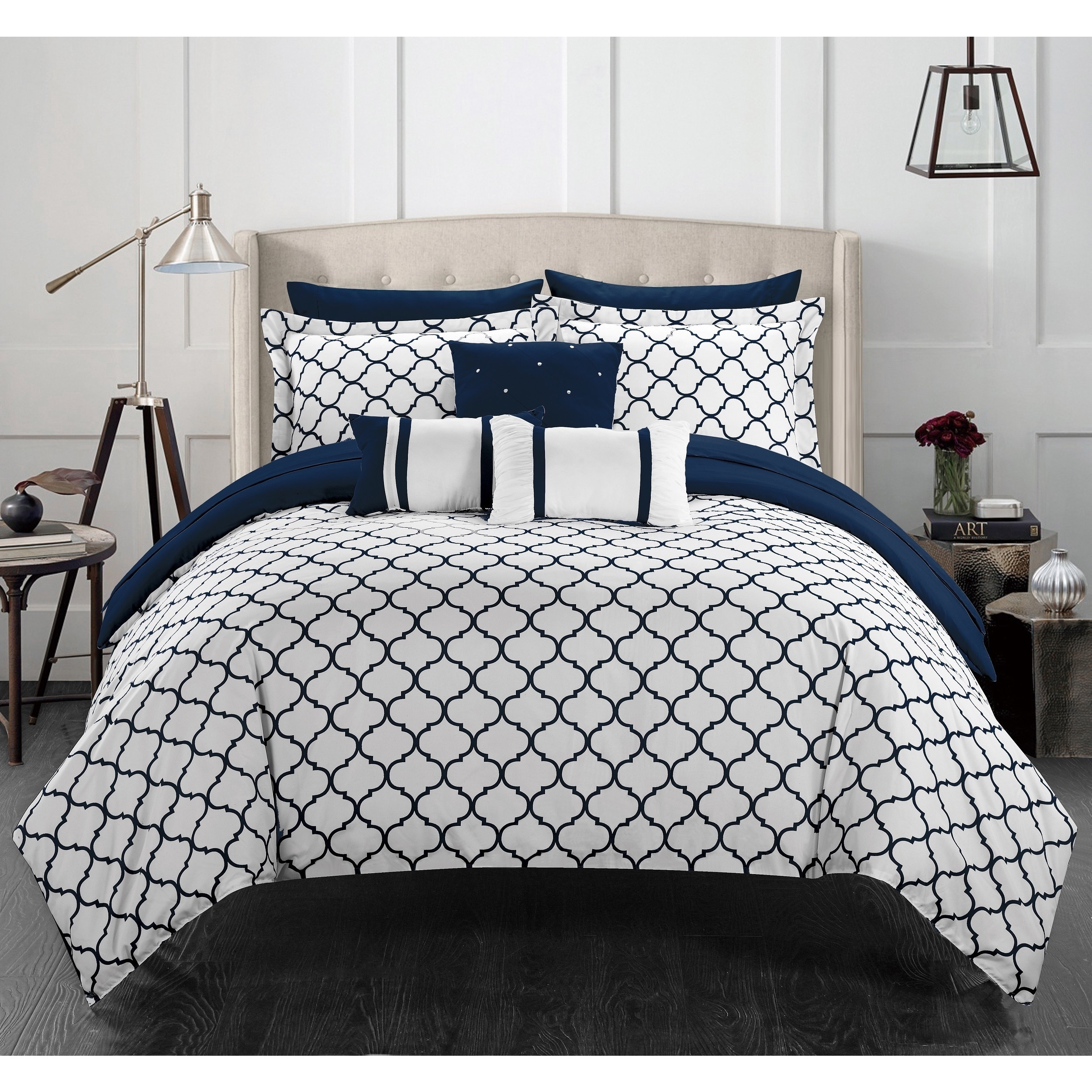 Chic Home Edney Bed in a Bag Navy forter 10 Piece Set Free