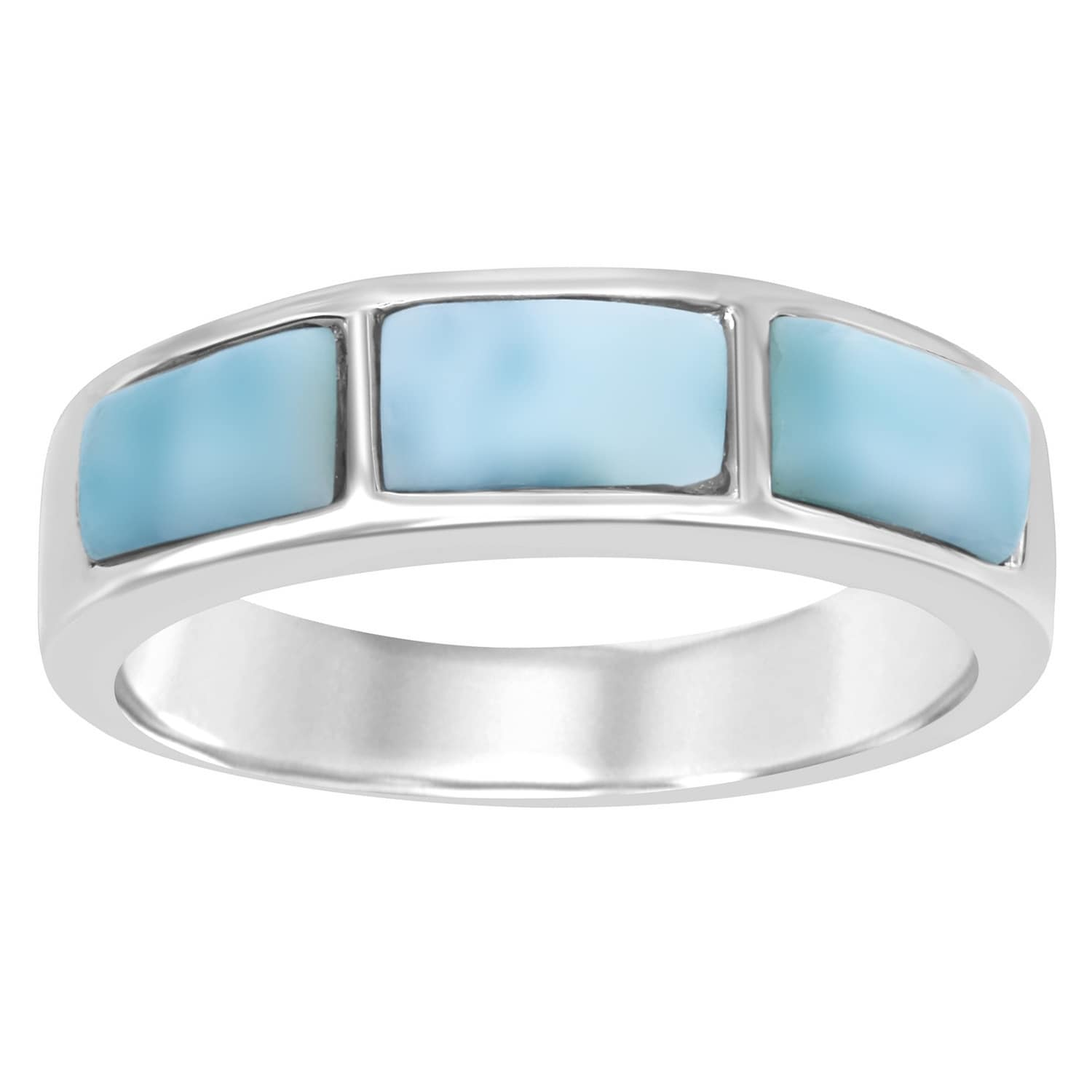 La Preciosa Sterling Silver Blue Larimar Band Ring Free Shipping
