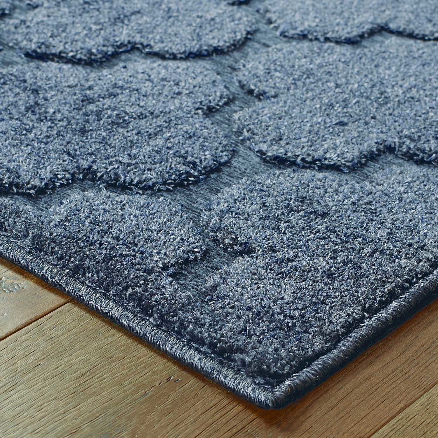 Scalloped Lattice Luxury Navy Blue Rug 53 x 76 Free Shipping