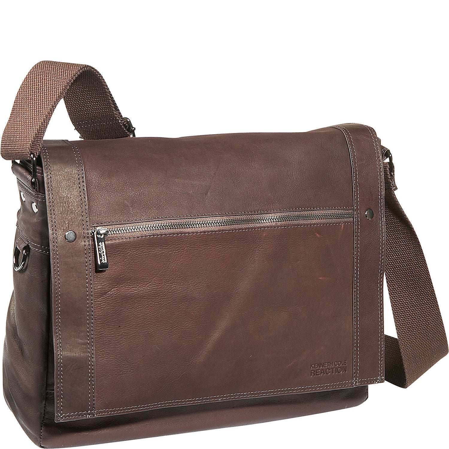 Kenneth Cole Reaction Full Grain Colombian Leather Flapover Crossbody Laptop Messenger Bag Free Shipping Today 12356590