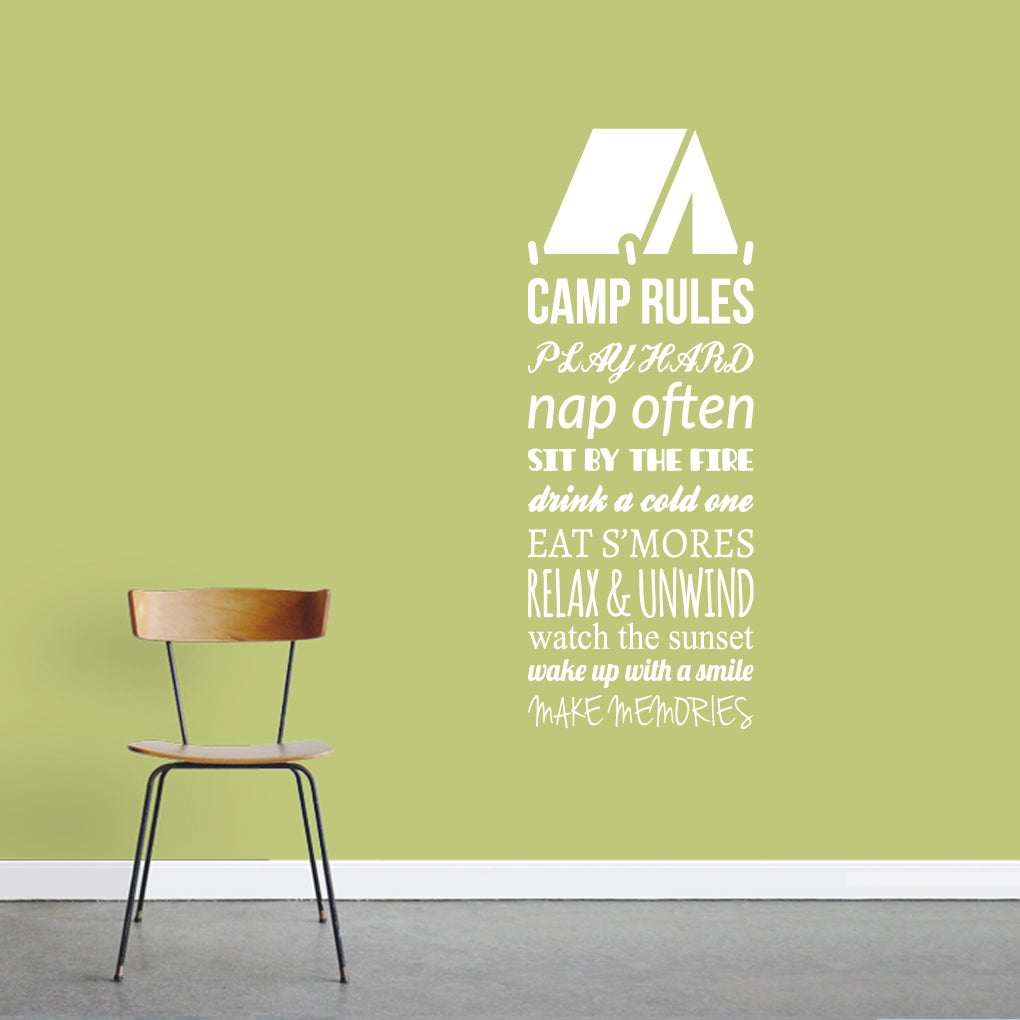 Shop Camp Rules Wall Decal - 18 x 48 Inches - On Sale - Free ...