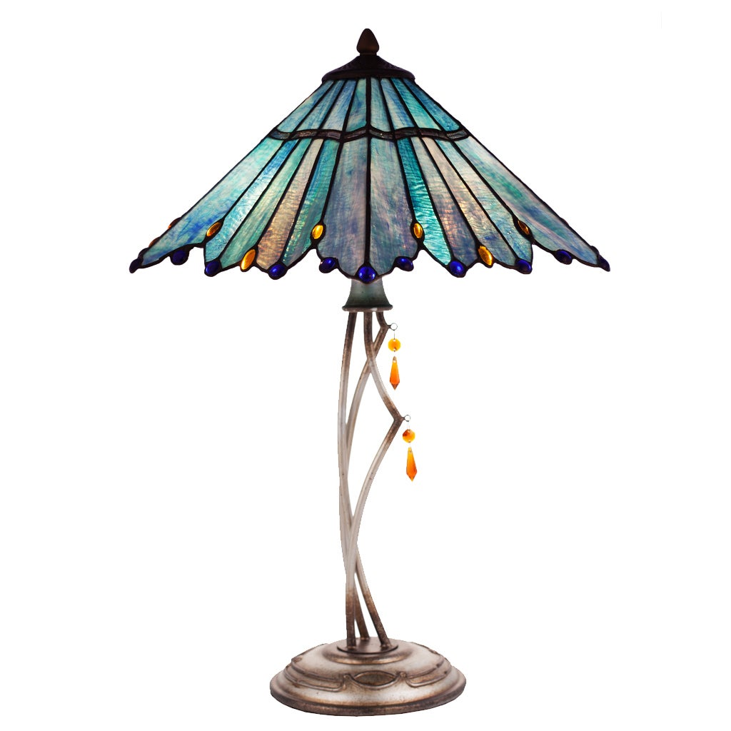 River of goods bluegreen metalresinart glass stained glass 2475 river of goods bluegreen metalresinart glass stained glass 2475 inch high tiffany style whimsical table lamp free shipping today overstock mozeypictures Gallery