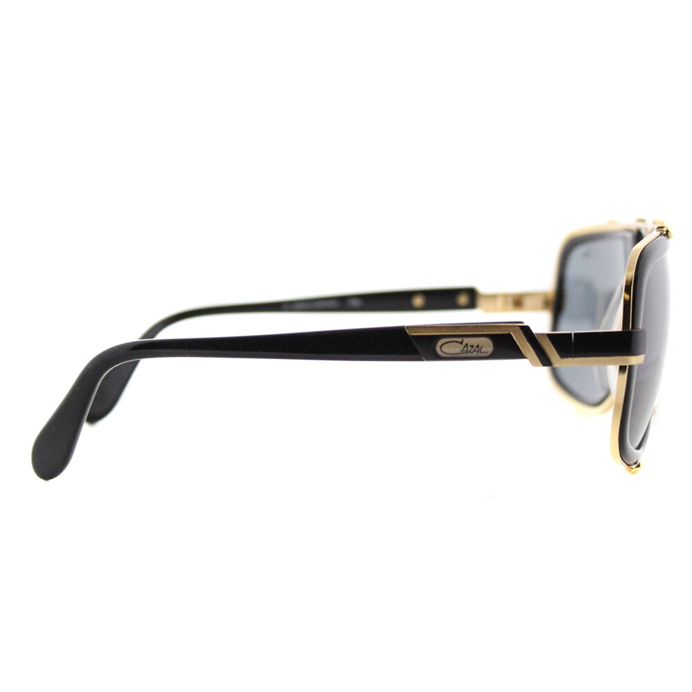 6f1f6e59dfdf Shop Cazal Cazal 656 001SG Legends Vintage Black And Gold Plastic Aviator  Grey Lens Sunglasses - Free Shipping Today - Overstock - 12362067