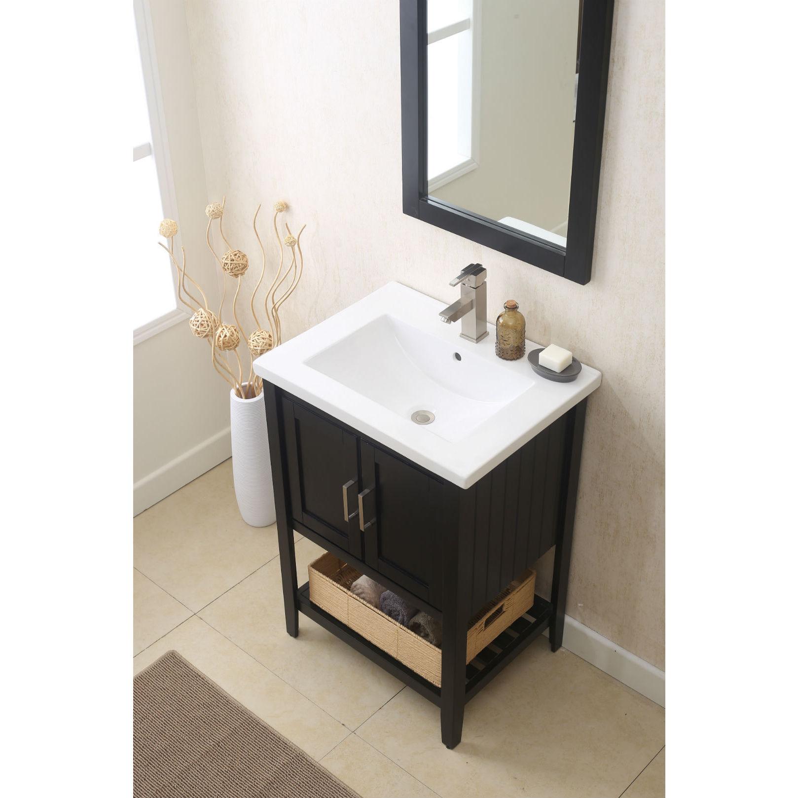 24 in. espresso bathroom vanity with single sink, Mirror, and faucet