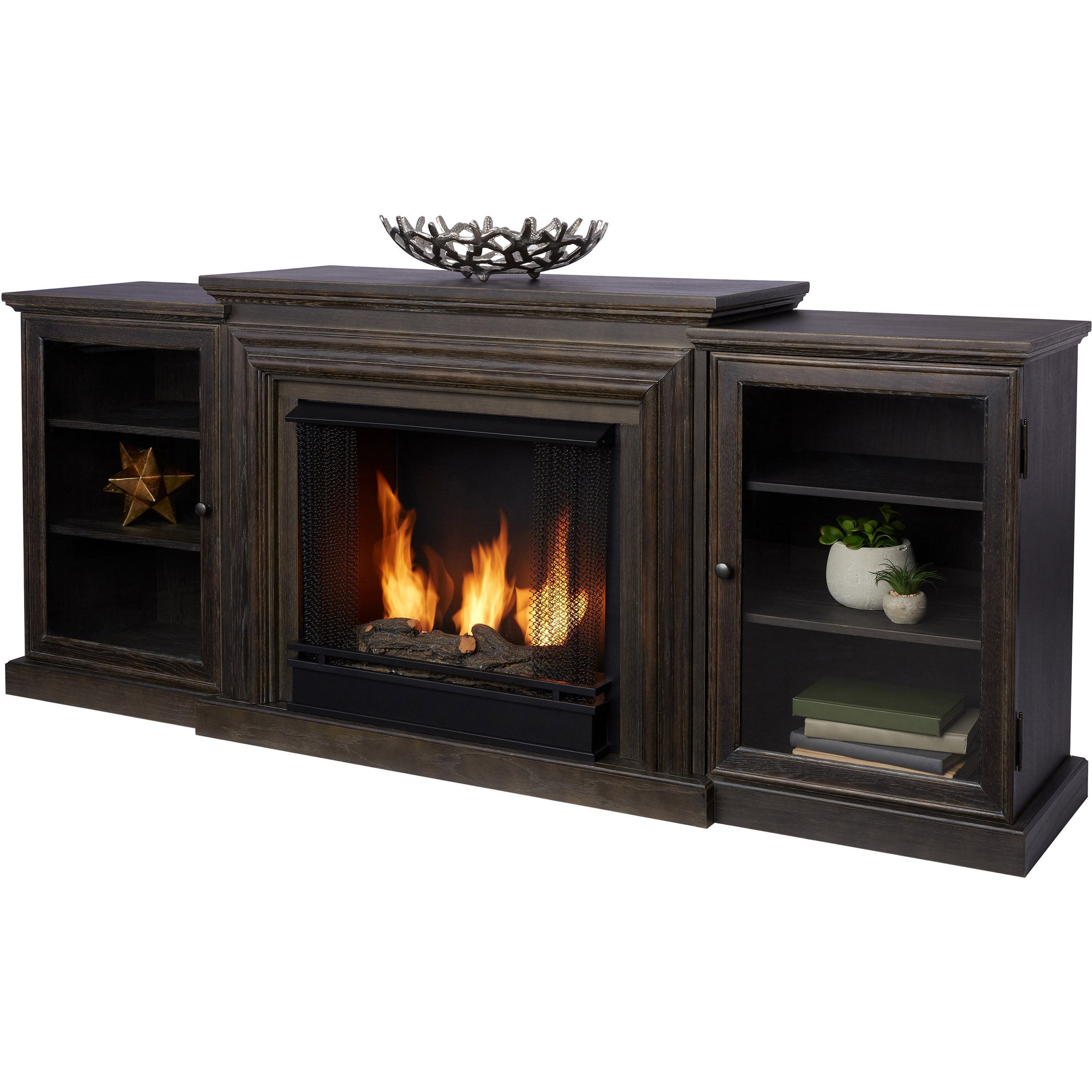 frederick grey gel fireplace entertainment center by real flame rh overstock com Fireplace Entertainment Center Combinations Entertainment Center with Fireplace