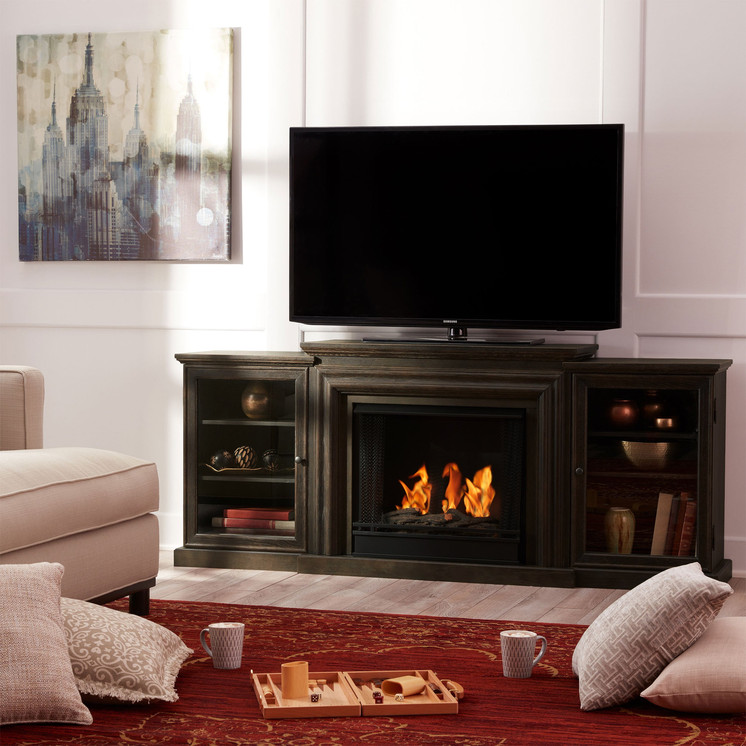 frederick grey gel fireplace entertainment center by real flame rh overstock com Real Flame Gel Fireplaces Ventless Entertainment Center with Fireplace