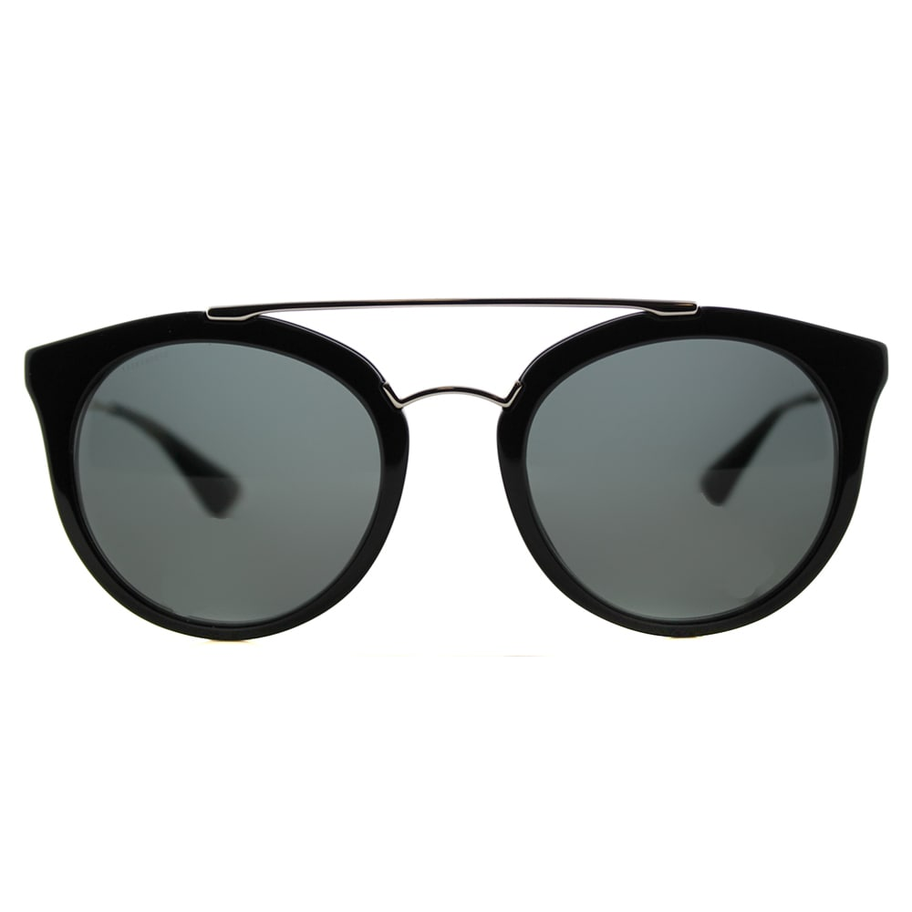 58bfc1e8a4 ... order shop prada pr 23ss 1ab1a1 cinema black plastic round grey lens  sunglasses free shipping today