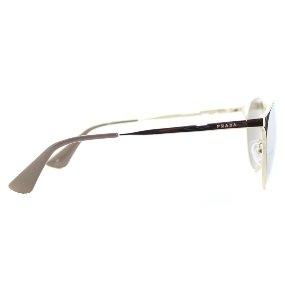 7d4fabebf168 ... ebay shop prada pr 62ss zvn1c0 cinema pale gold metal round gold mirror  lens sunglasses free