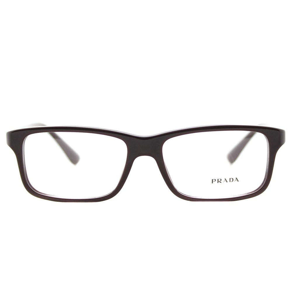 ba8aad10175 Shop Prada PR 06SV USF1O1 Brown Plastic 56-millimeter Rectangle Eyeglasses  - Free Shipping Today - Overstock - 12363056