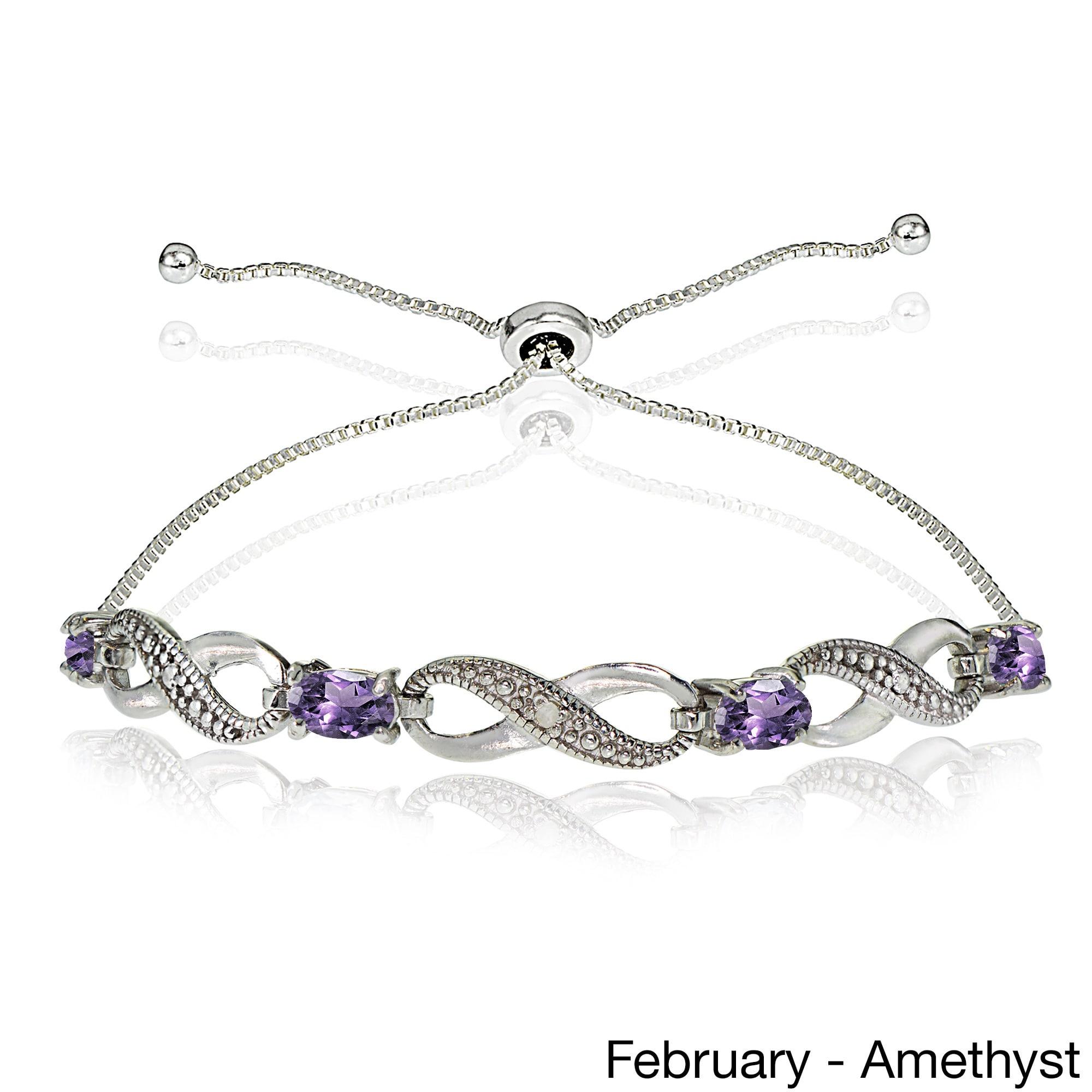 925 Silver Bracelet Wedding Gift Chain Bracelet February Birthstone Natural Amethyst Bracelet Bracelet 5 MM Round Christmas Gift