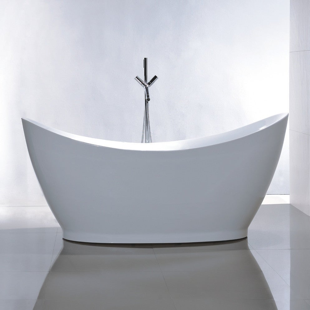 Shop Vanity Art White Acrylic 67.5-inch Freestanding Soaking Bathtub ...