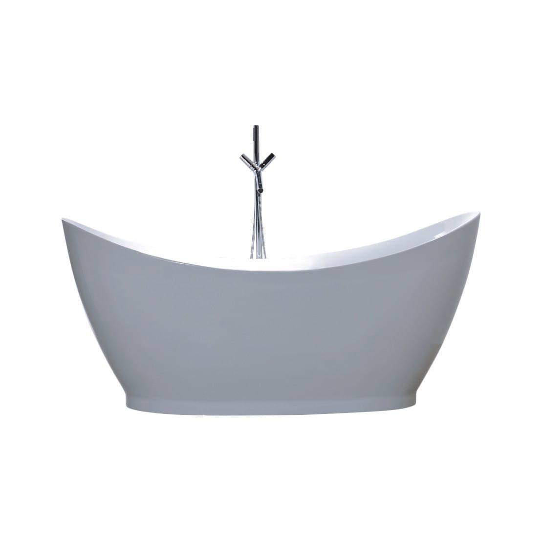 Shop Vanity Art White Acrylic 67.5-inch Freestanding Soaking Bathtub ...