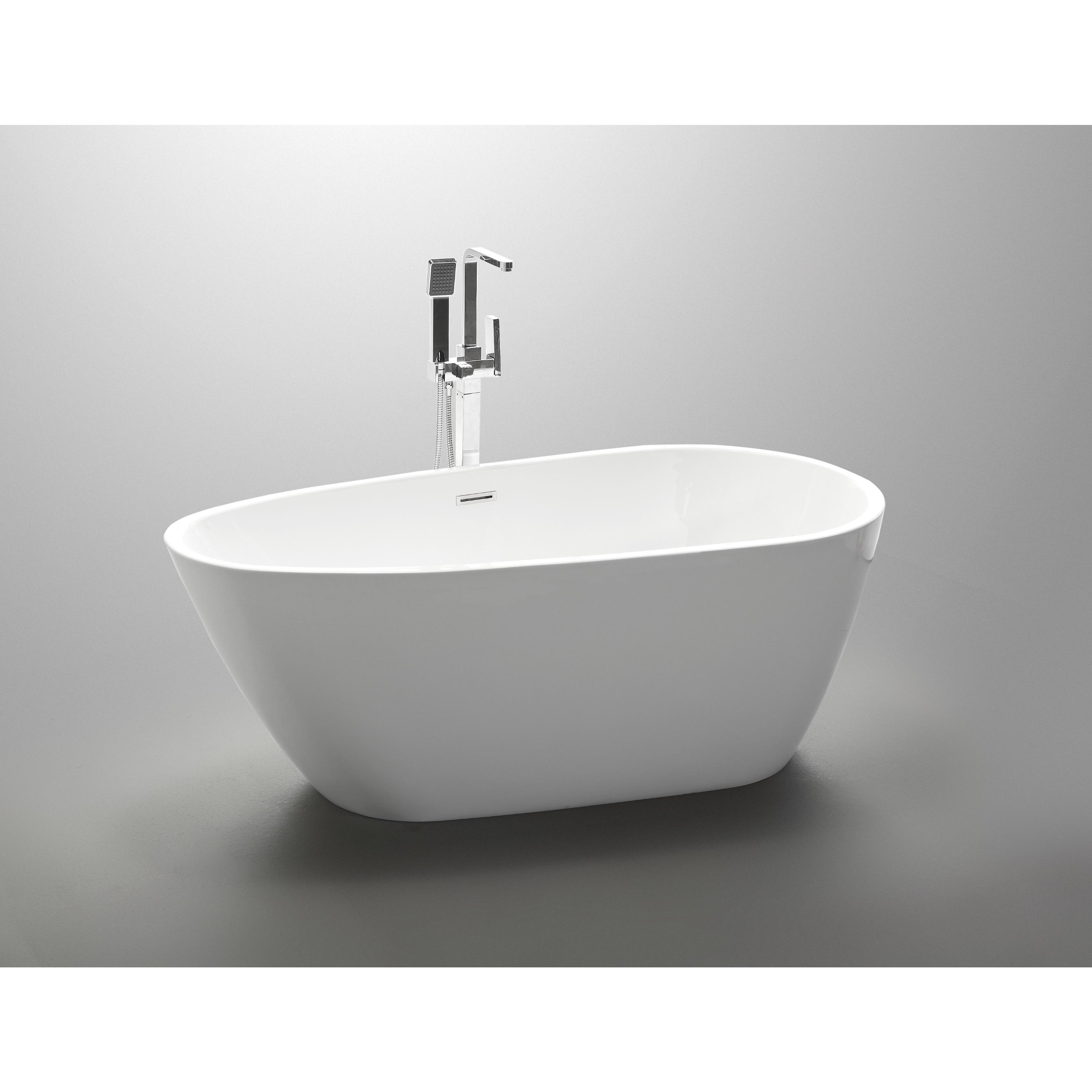 Shop Vanity Art White Acrylic 59-inch Freestanding Soaking Bathtub ...