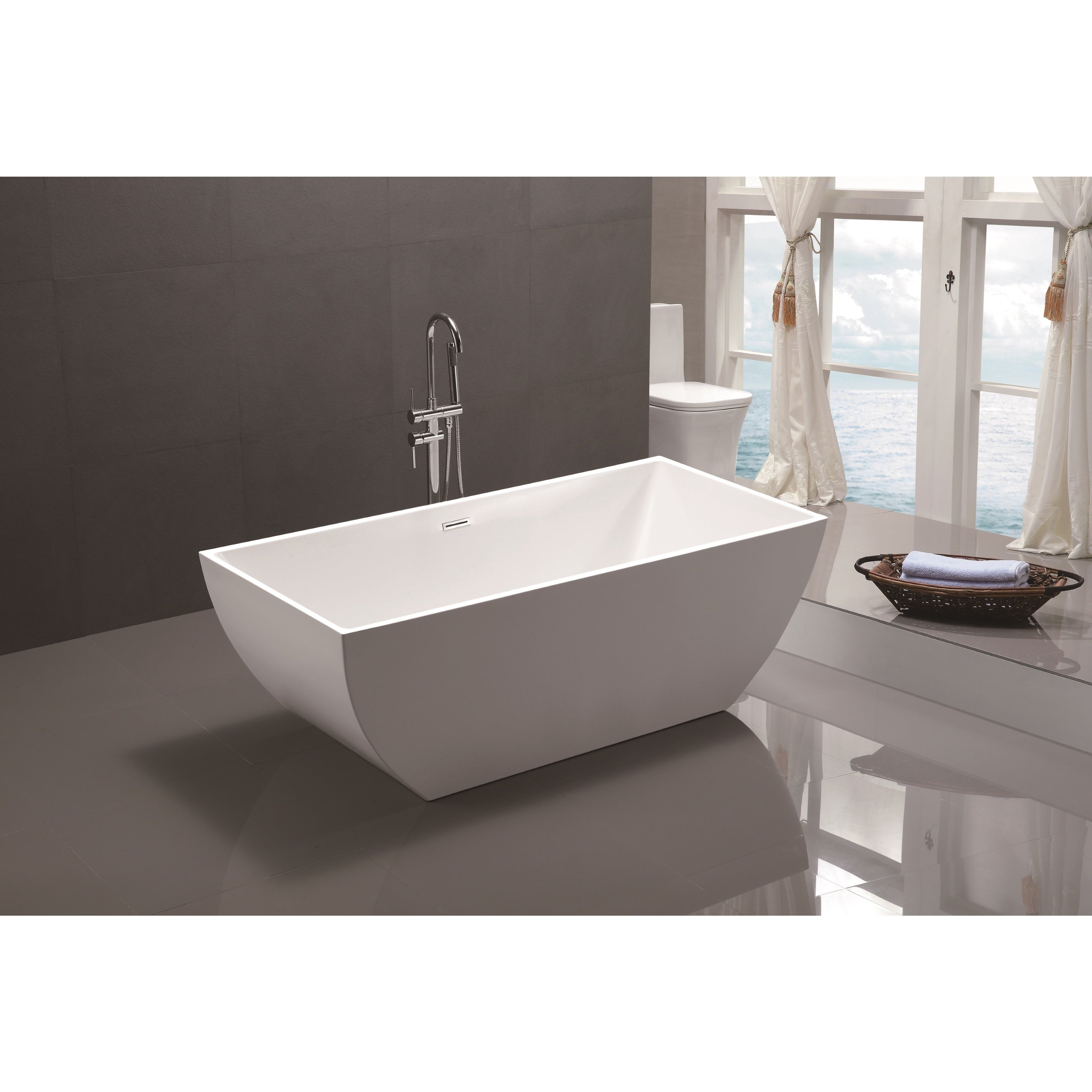 Shop Vanity Art 59-inch Freestanding Acrylic Soaking Bathtub - Free ...