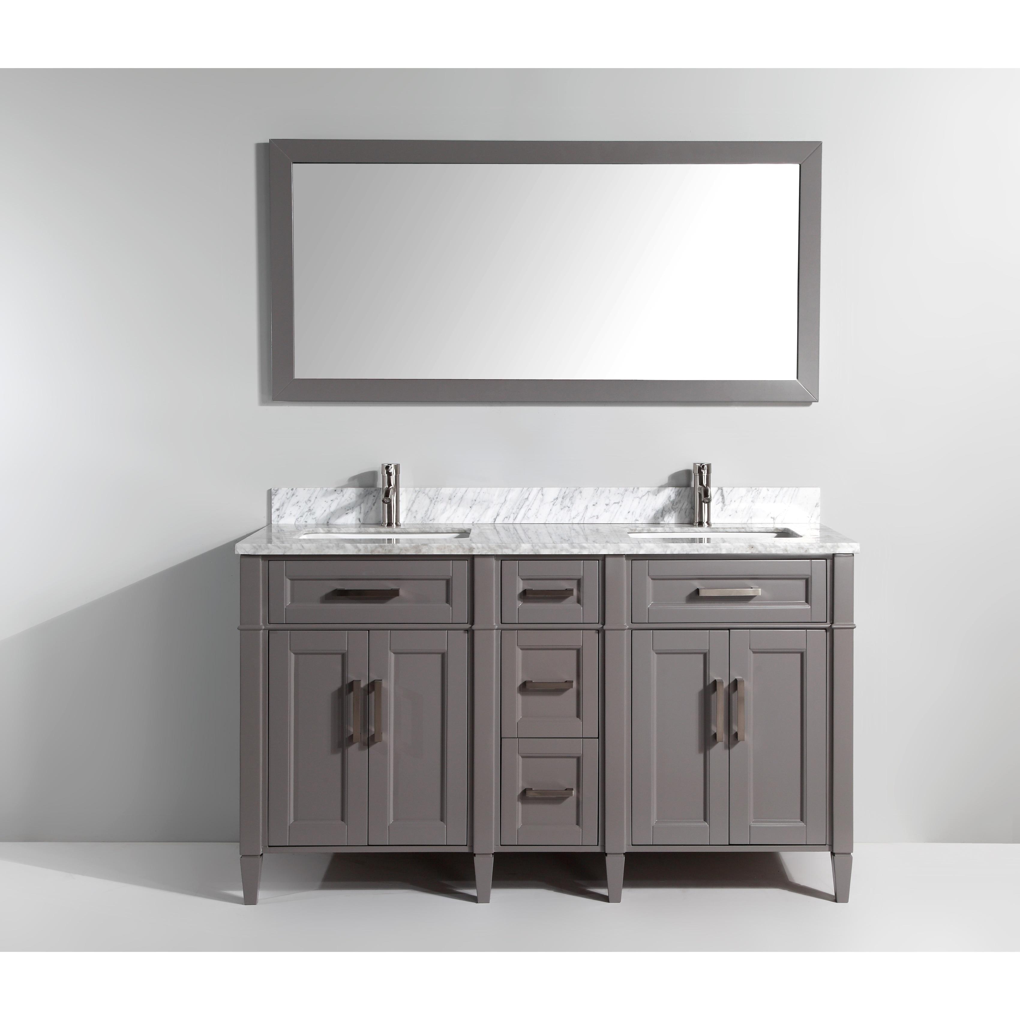 Vanity Art 60 Inch Bathroom Set With Carrara Marble Top