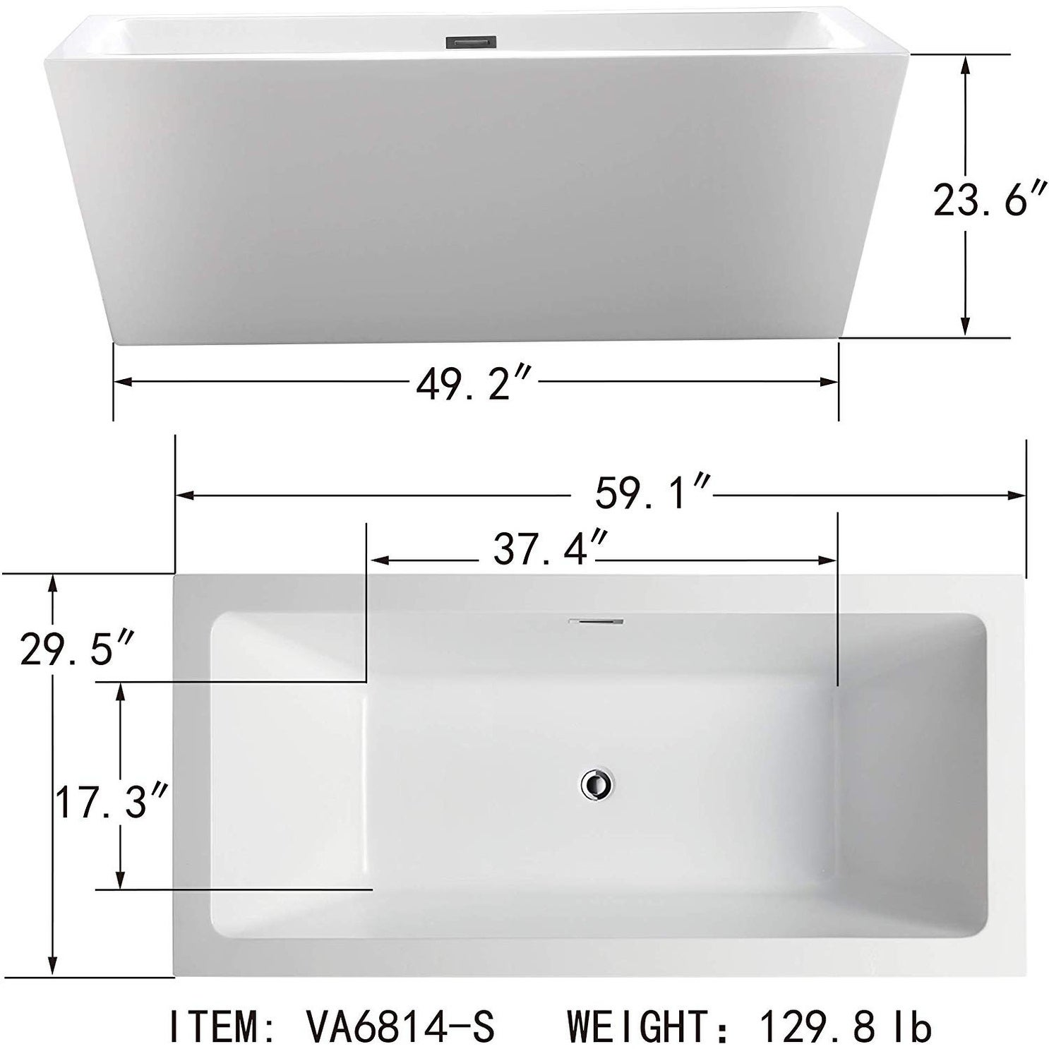 Vanity Art 59 Freestanding Acrylic Bathtub Modern Stand Alone Soaking Tub With Chrome Finish Slotted Overflow Pop Up Drain Overstock 12364462