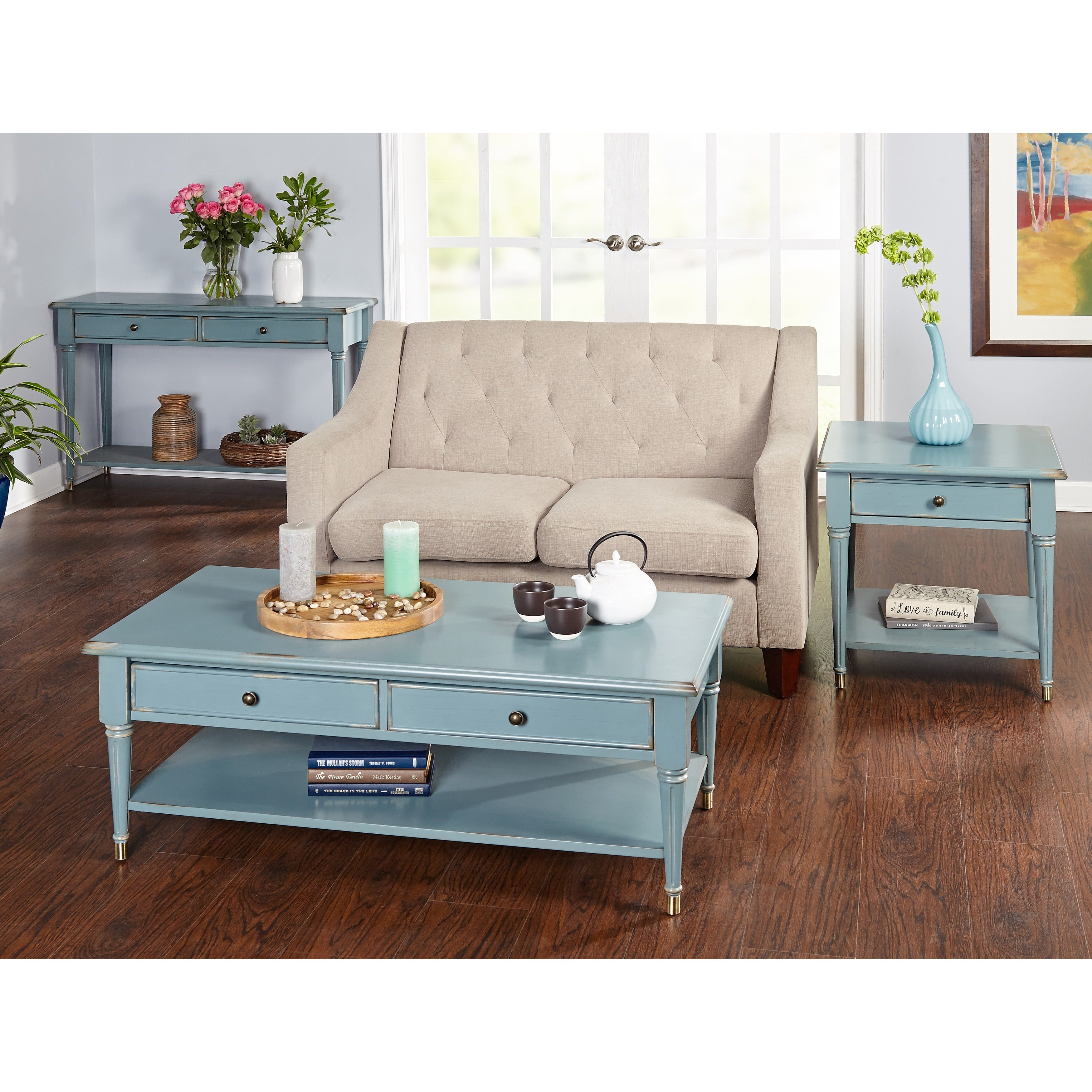 Shop simple living emilia antique blue sofa table free shipping today overstock com 12364613