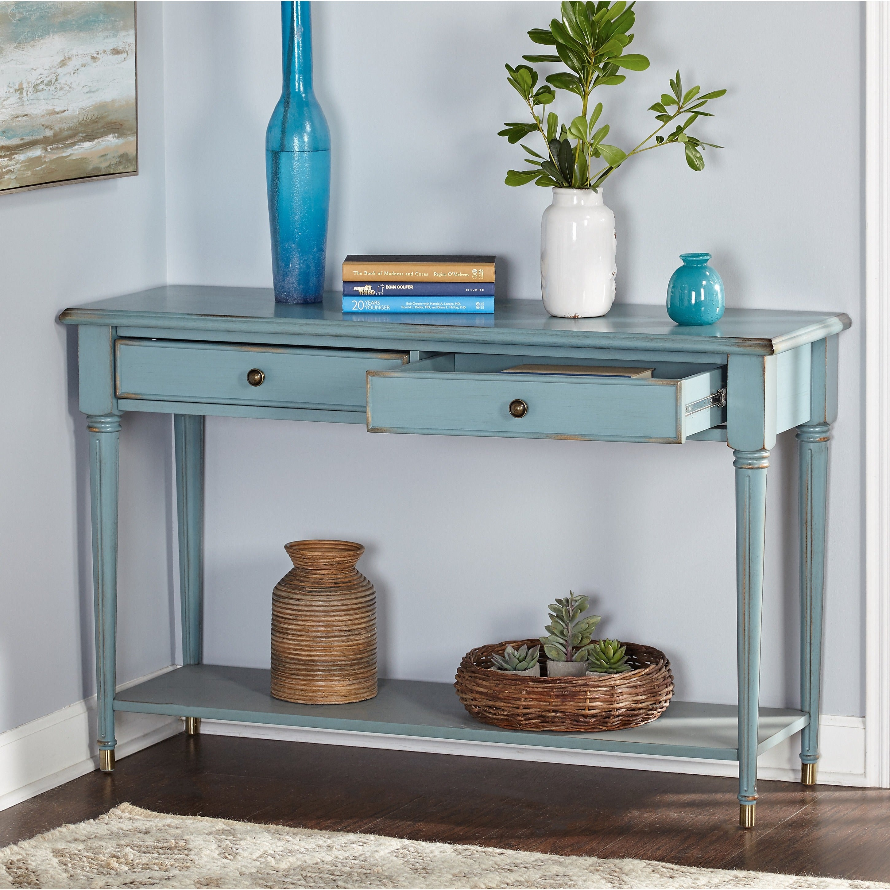 Simple Living Emilia Antique Blue Sofa Table Free Shipping Today 12364613