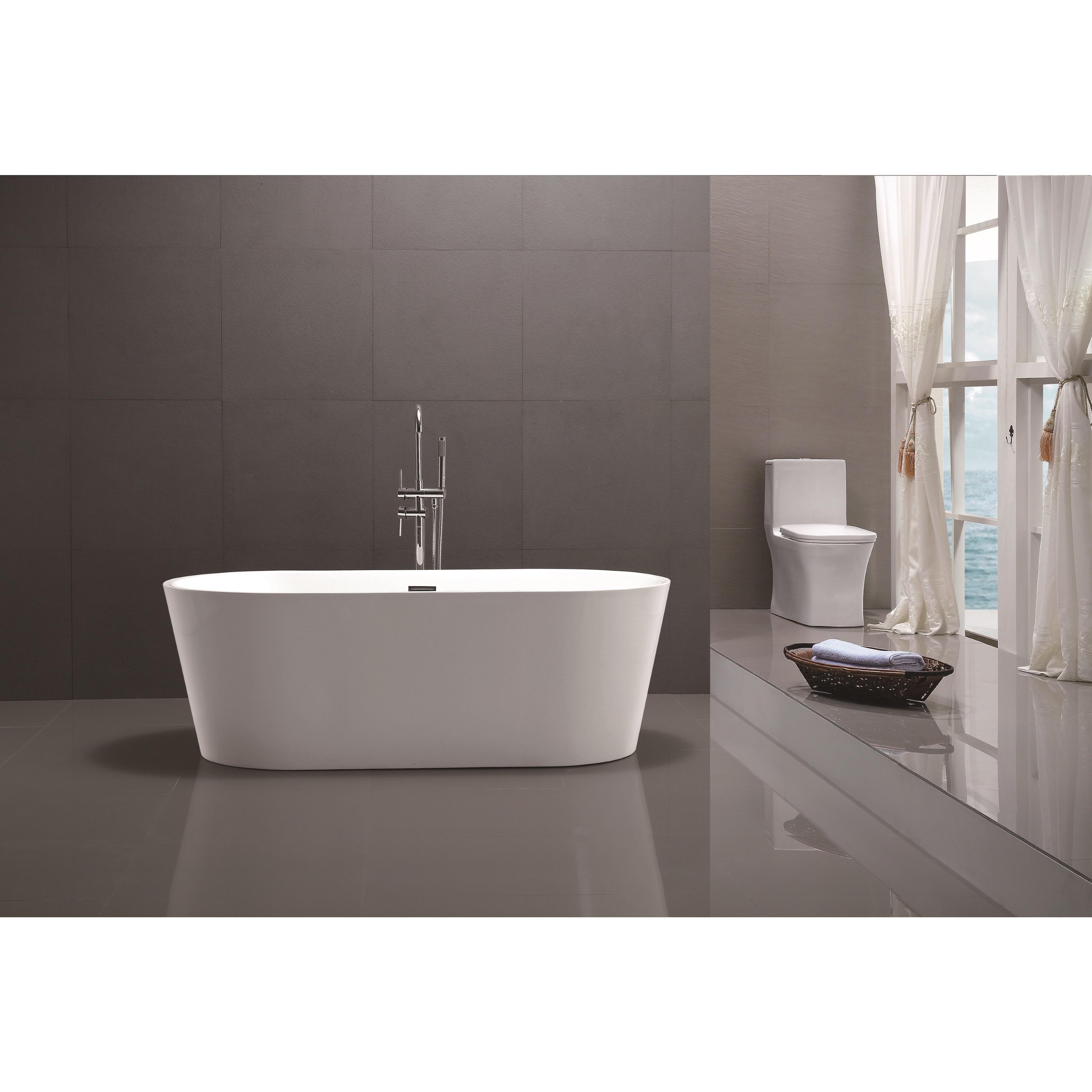 Shop Vanity Art 59 Inch Freestanding White Acrylic Soaking Bathtub
