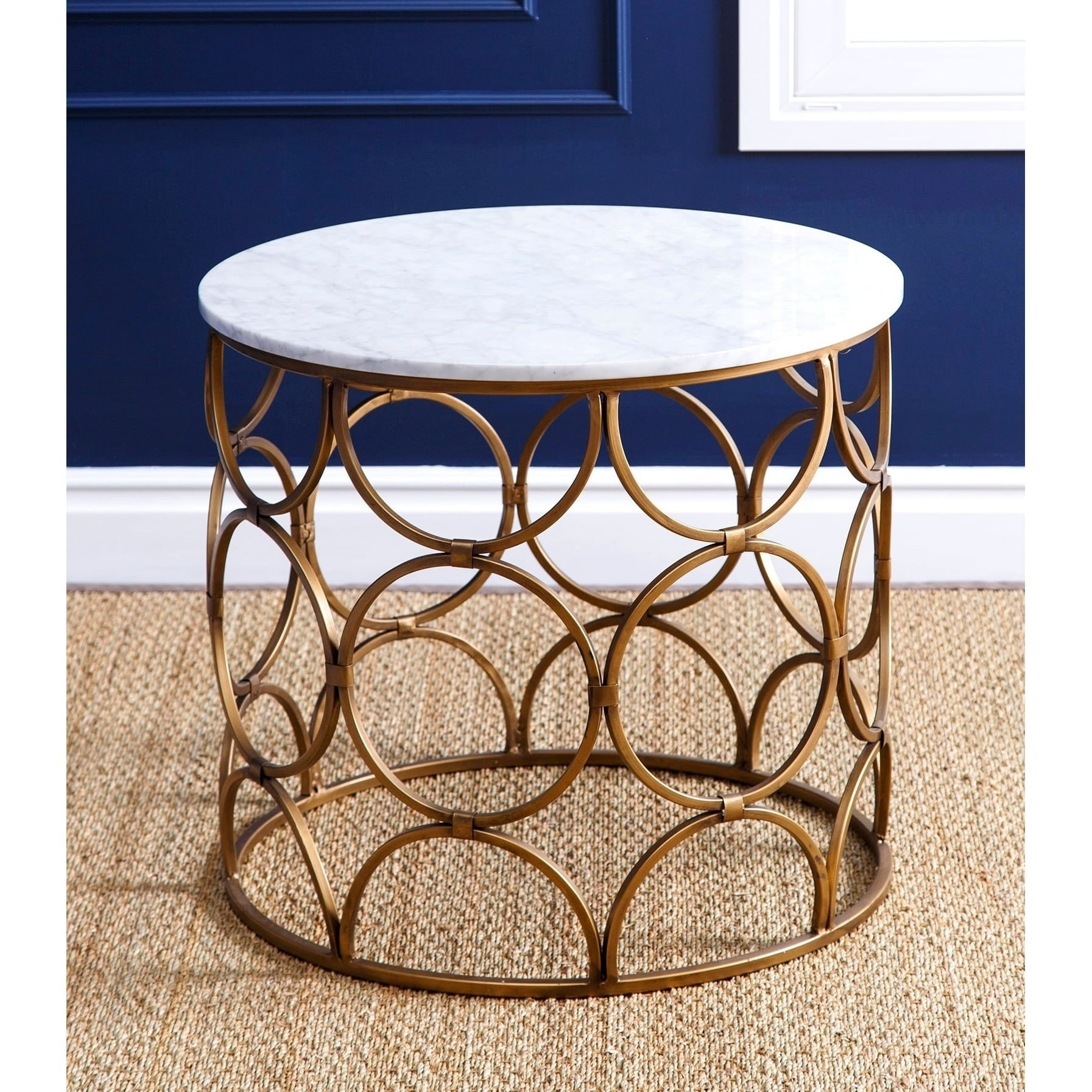Abbyson Roland Round Faux Marble Coffee Table On Free Shipping Today 12368561
