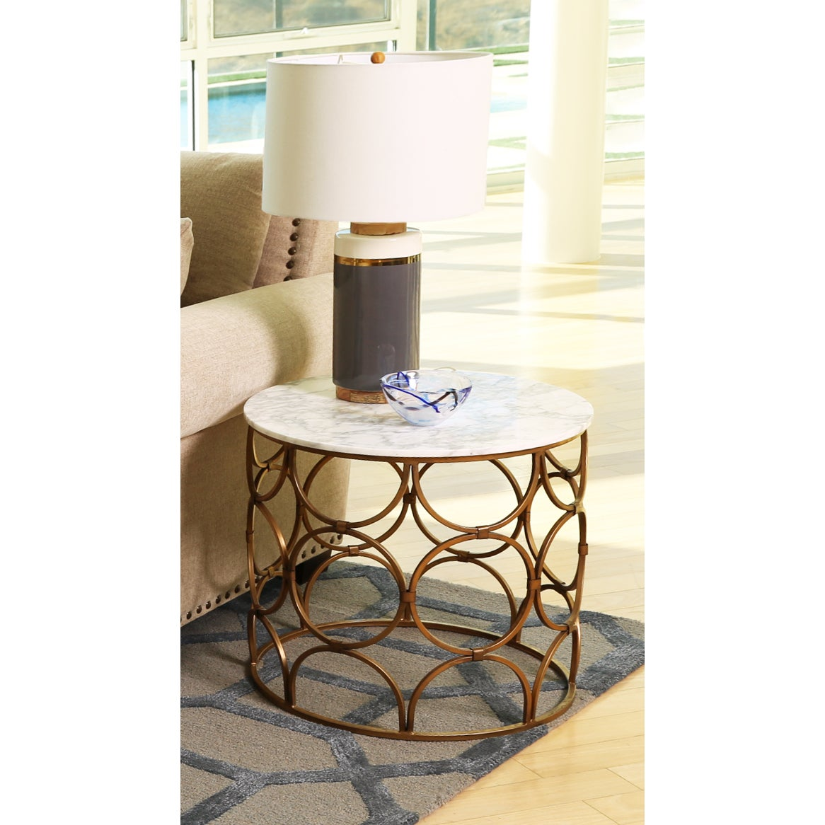 Shop Abbyson Roland Round Faux Marble Coffee Table   On Sale   Free  Shipping Today   Overstock.com   12368561