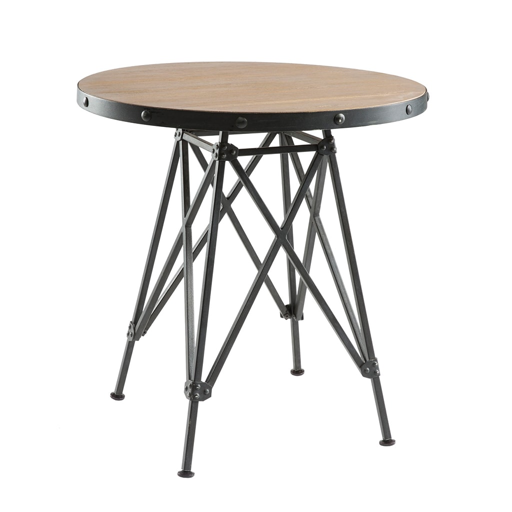 Carbon Loft Fischer Graphite Metal Base And Elm Wood Bistro Table