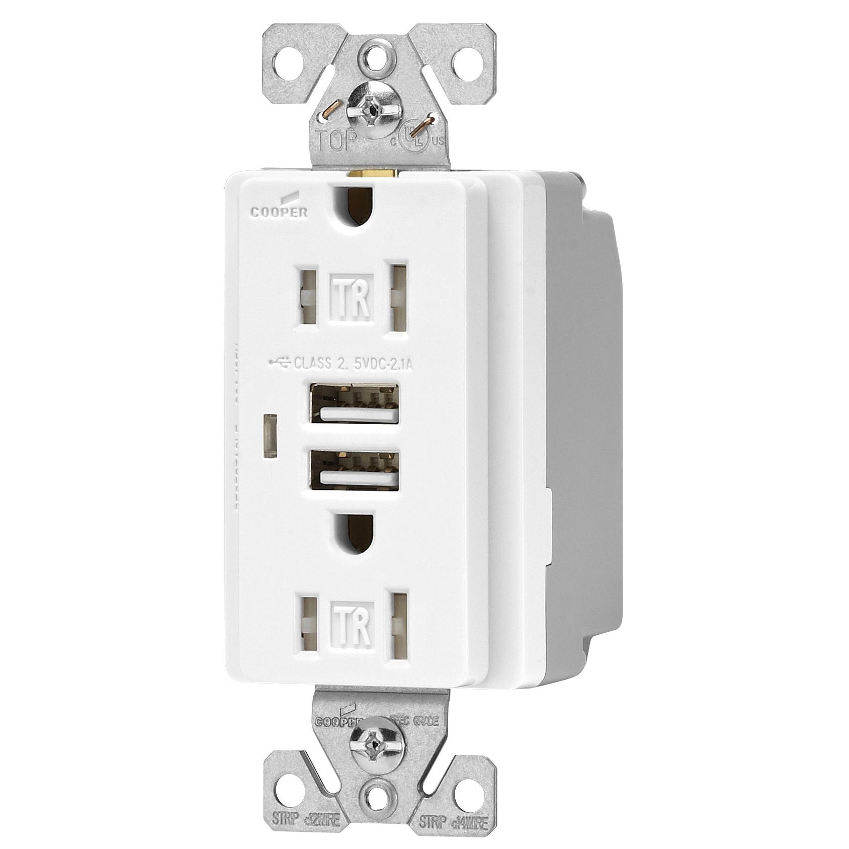 Phenomenal Cooper Wiring Devices Tr7745W 15 Amp White Usb Receptacle Wiring 101 Tzicihahutechinfo