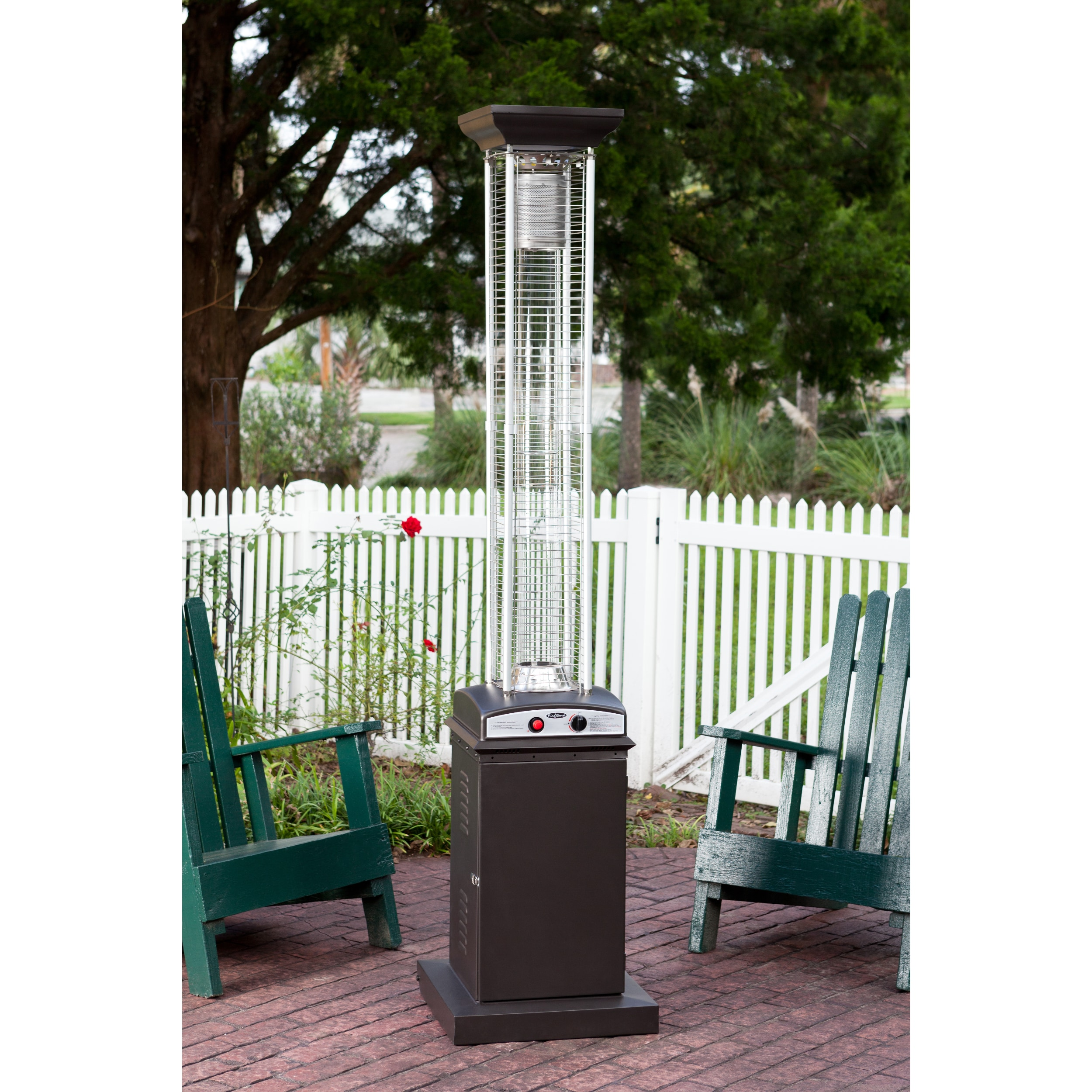 Fire Sense Mocha Square Flame Patio Heater   Free Shipping Today    Overstock   19195850
