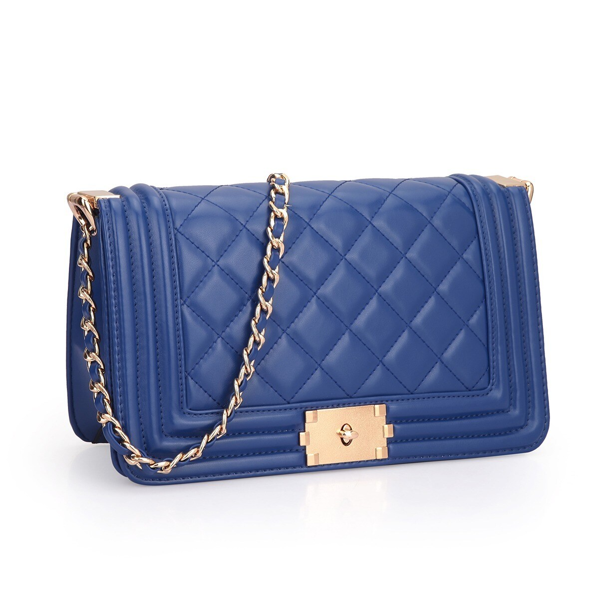 fe4a0c949321 Shop Dasein Quilted Crossbody Bag with Intertwined Leather Goldtone Chain  Straps - On Sale - Free Shipping Today - Overstock - 12370499